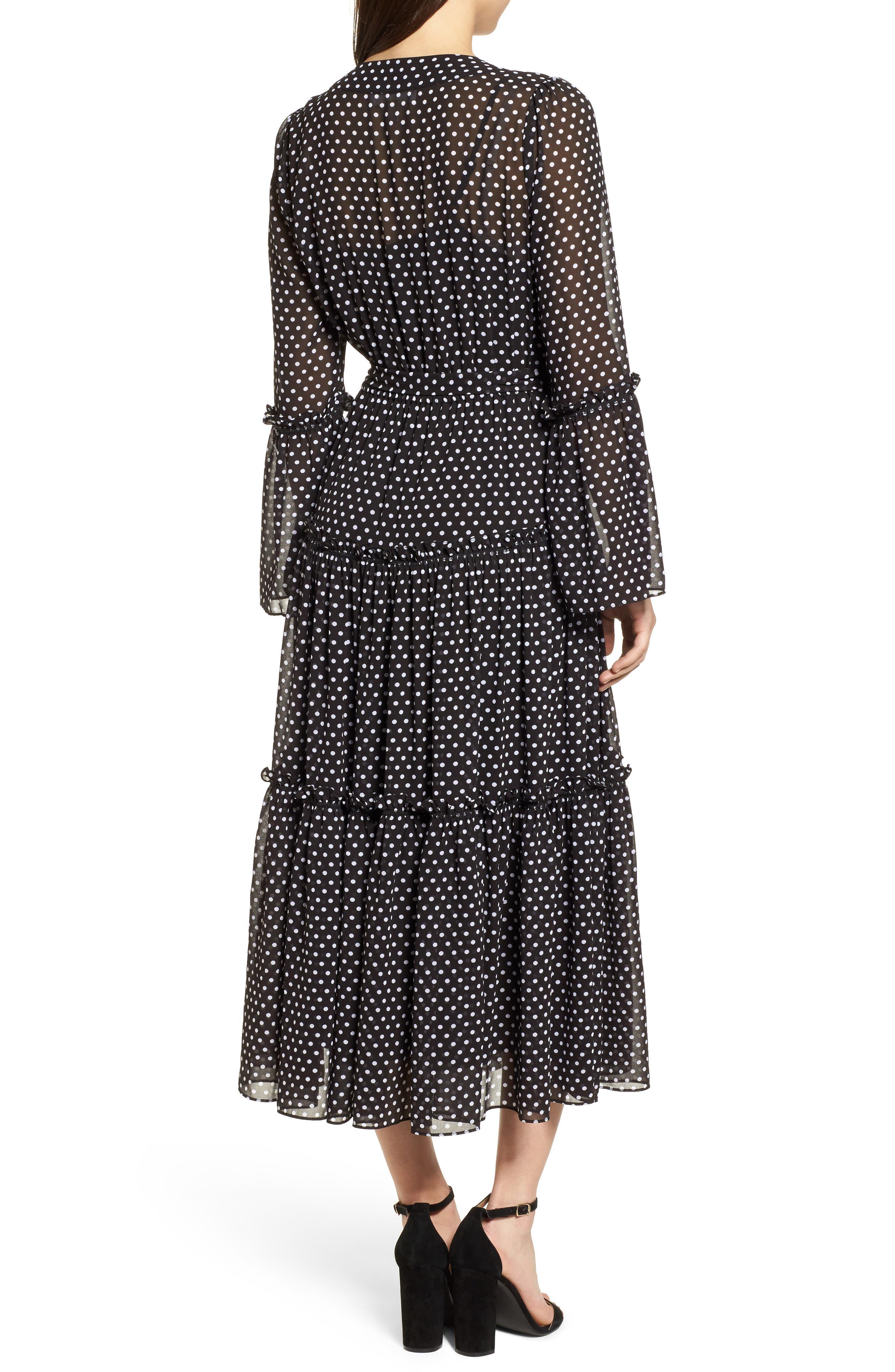 Tiered Dot Boho Dress,                             Alternate thumbnail 2, color,                             Black/ White