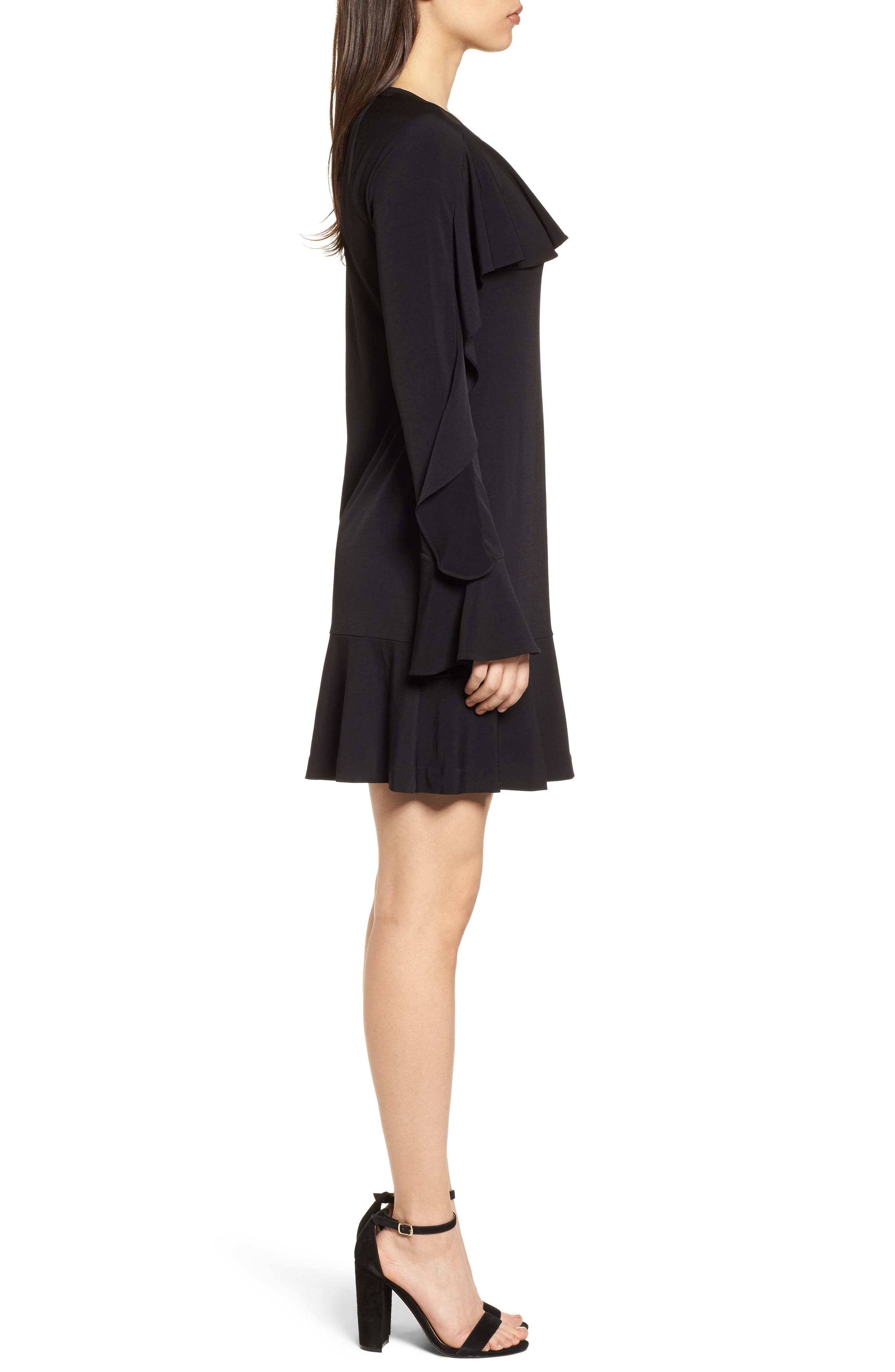 Flounce Panel Long Sleeve Dress,                             Alternate thumbnail 3, color,                             Black