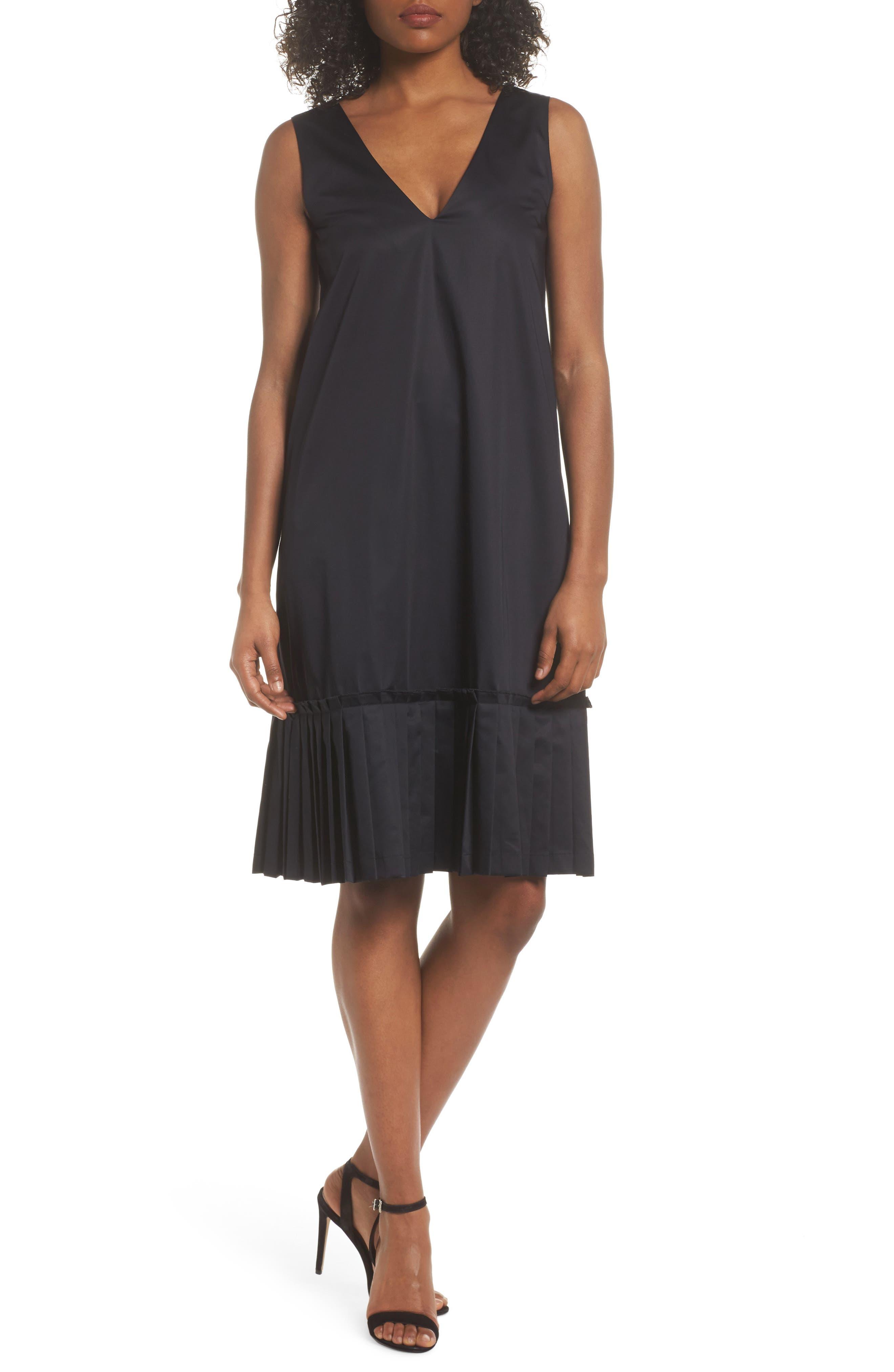 Pleat Hem Shift Dress,                             Main thumbnail 1, color,                             Black