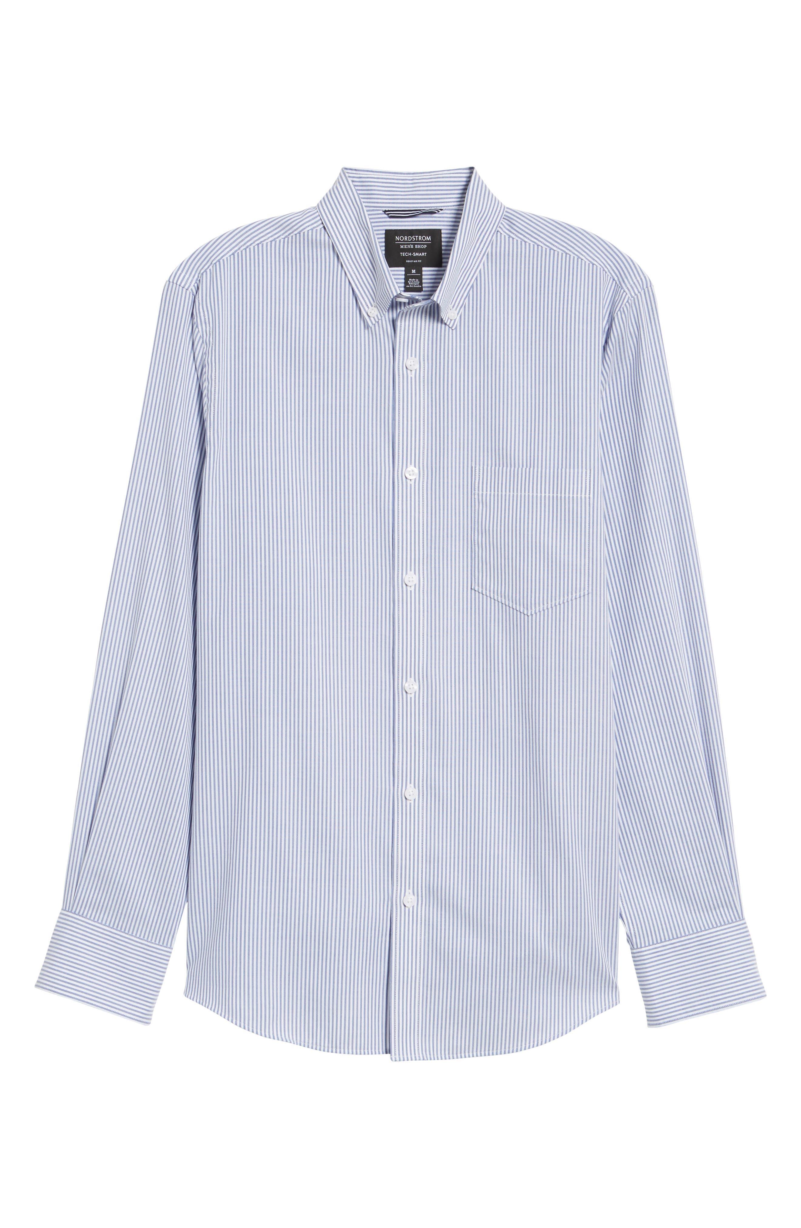 Tech-Smart Regular Fit Stripe Sport Shirt,                             Alternate thumbnail 6, color,                             Navy Iris White Stripe