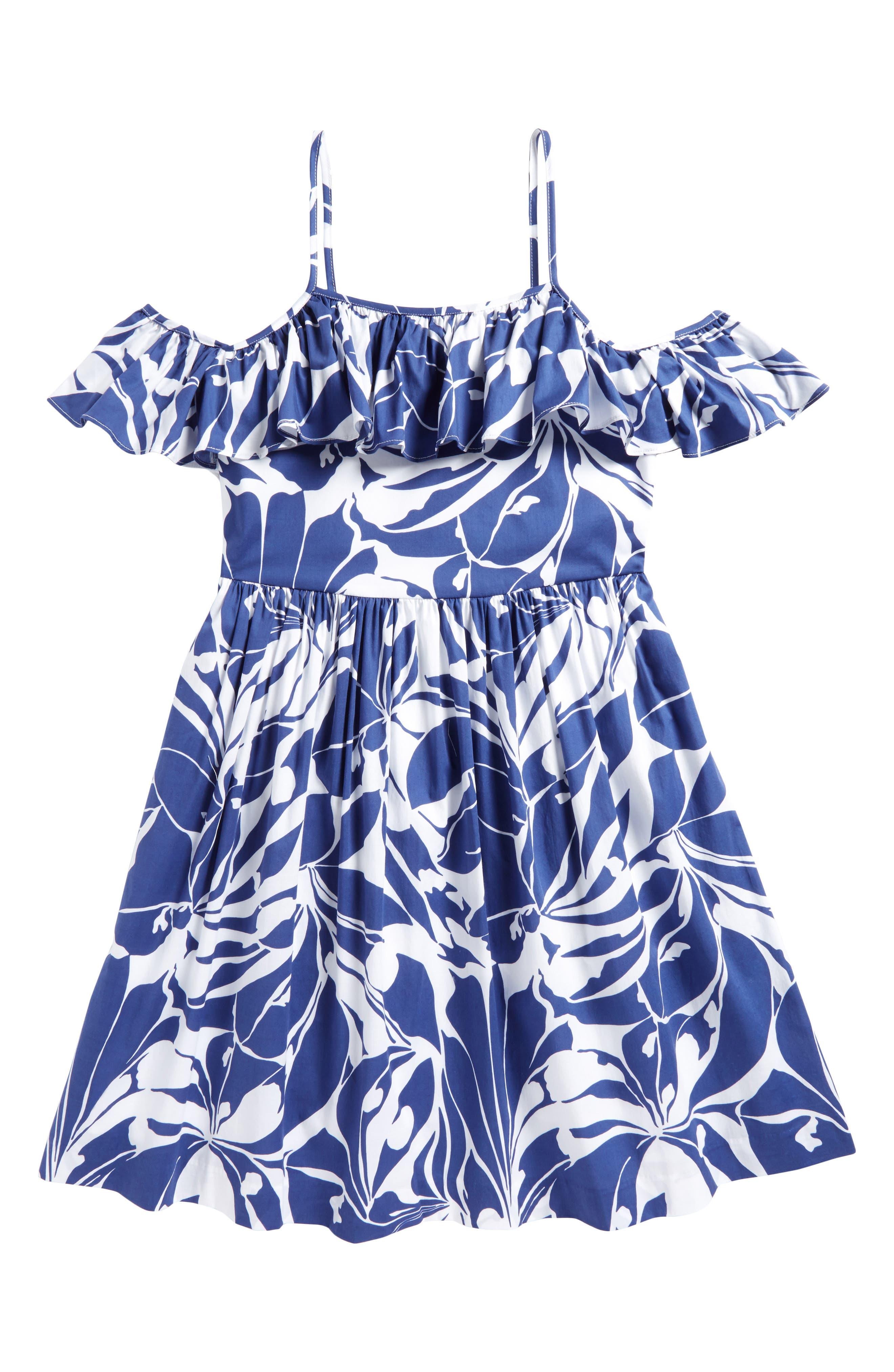 Bella Cold Shoulder Dress,                         Main,                         color, Blue/ White