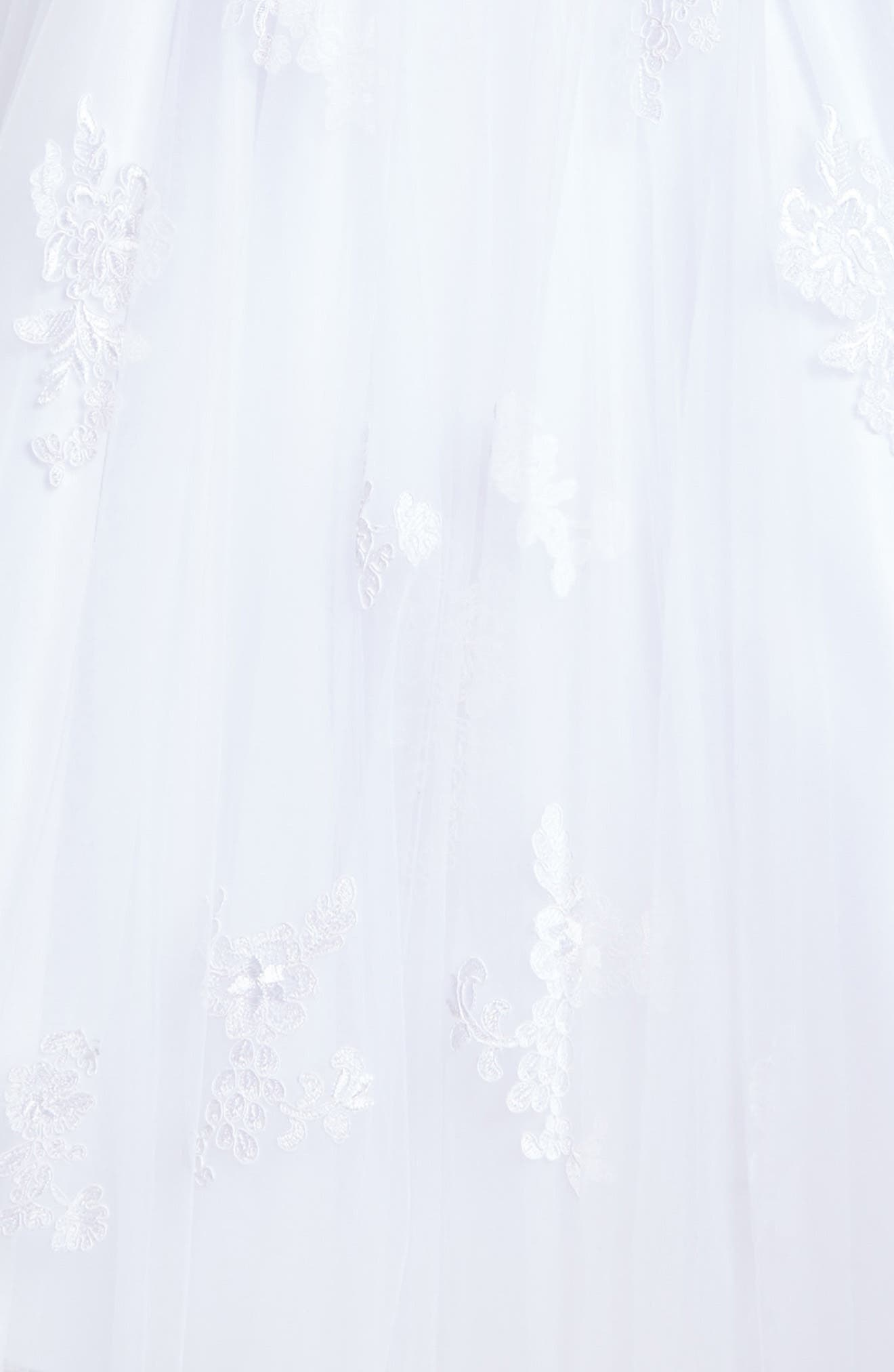 Lace Appliqué Tulle First Communion Dress,                             Alternate thumbnail 3, color,                             White