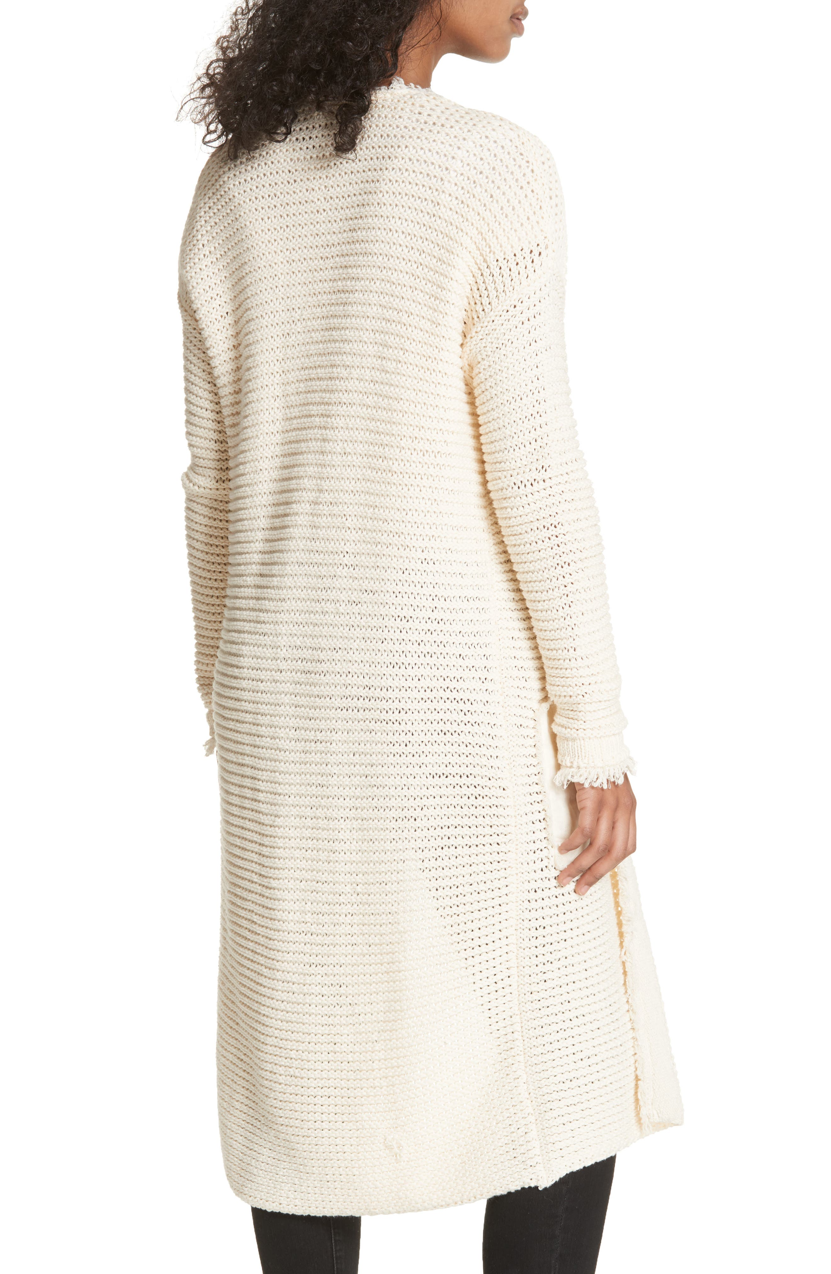 Woodstock Longline Cardigan,                             Alternate thumbnail 2, color,                             Ivory