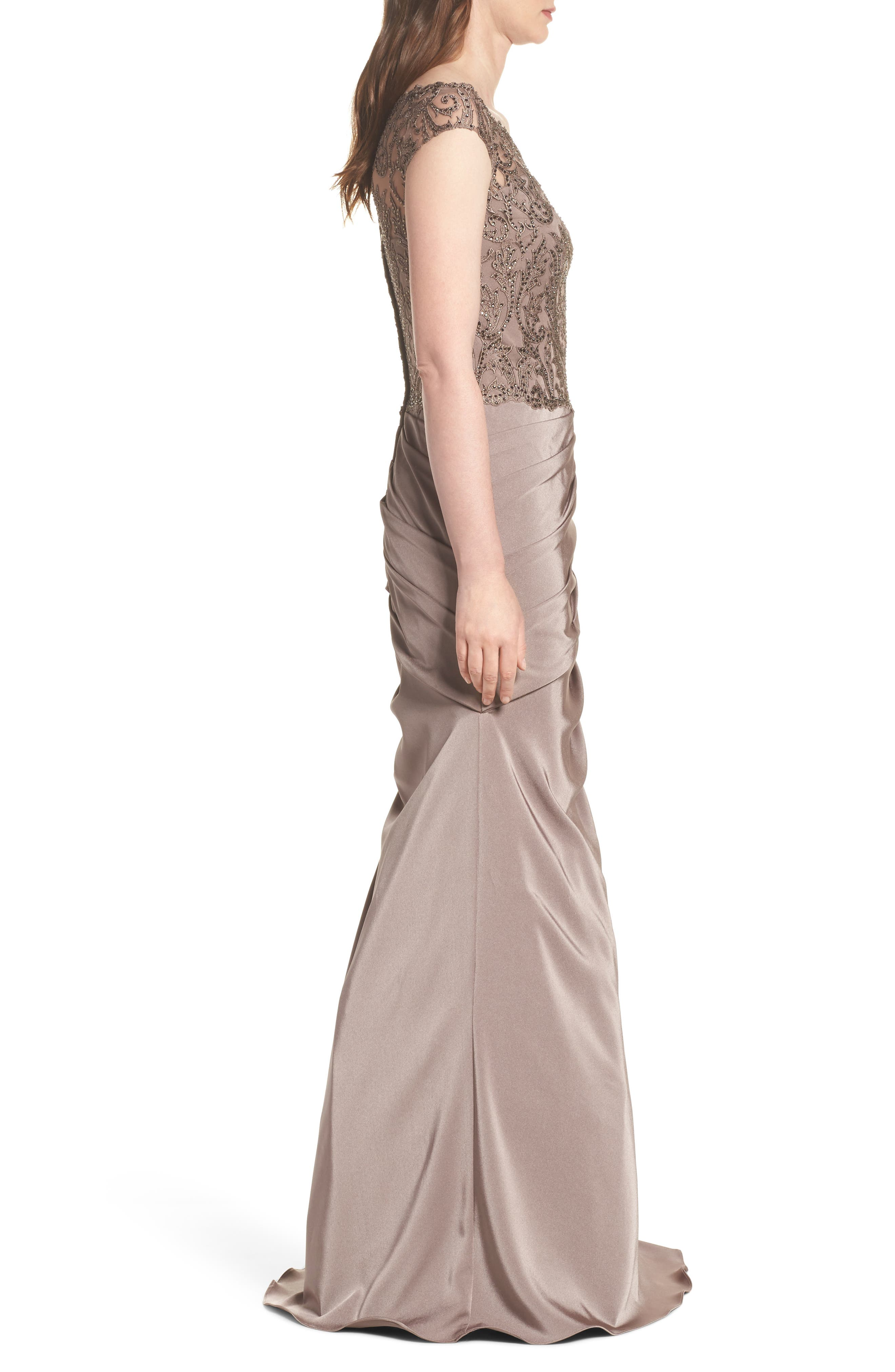 Beaded Lace Ruched Gown,                             Alternate thumbnail 3, color,                             Cocoa