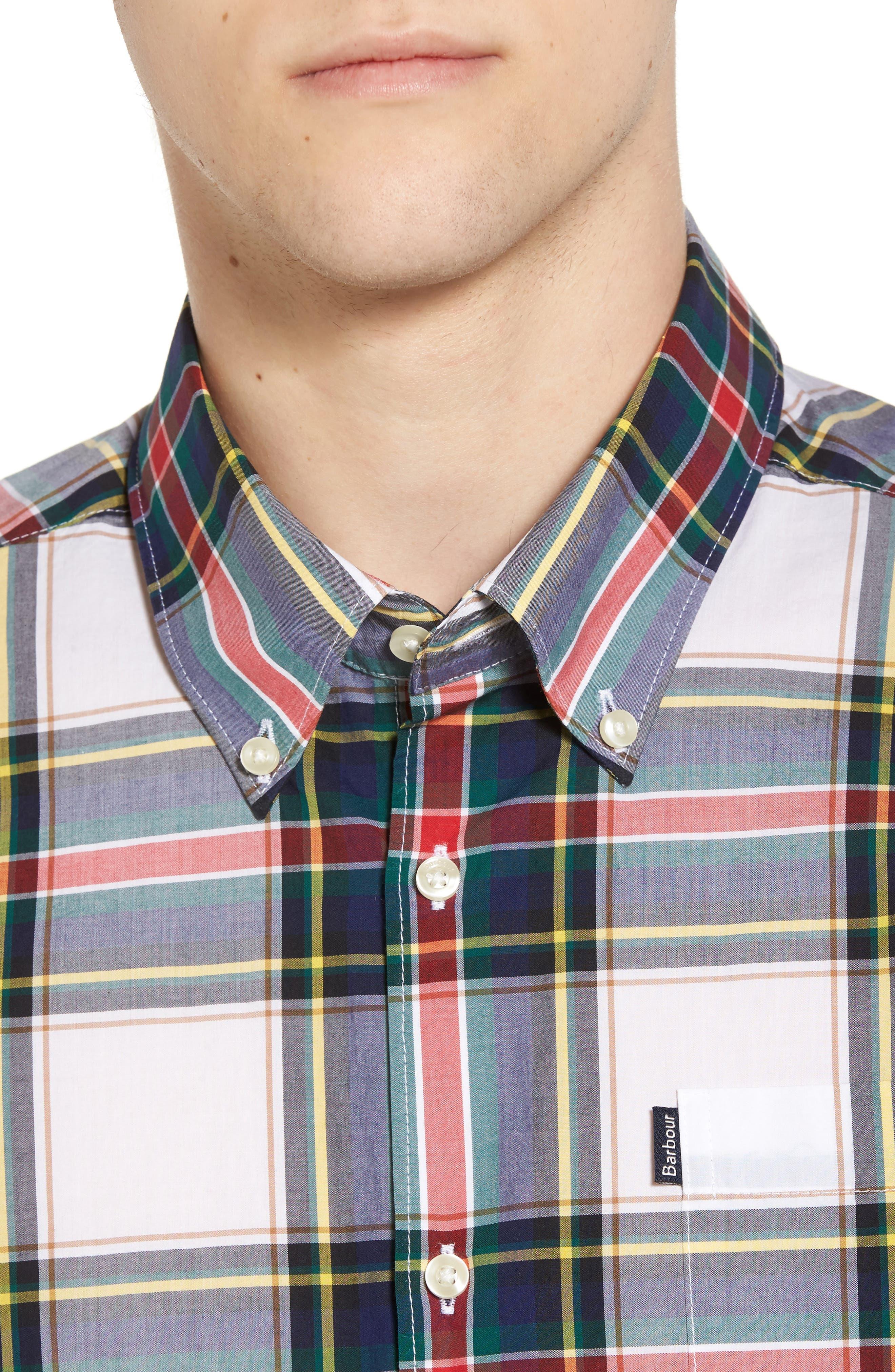 Oscar Trim Fit Plaid Sport Shirt,                             Alternate thumbnail 4, color,                             White