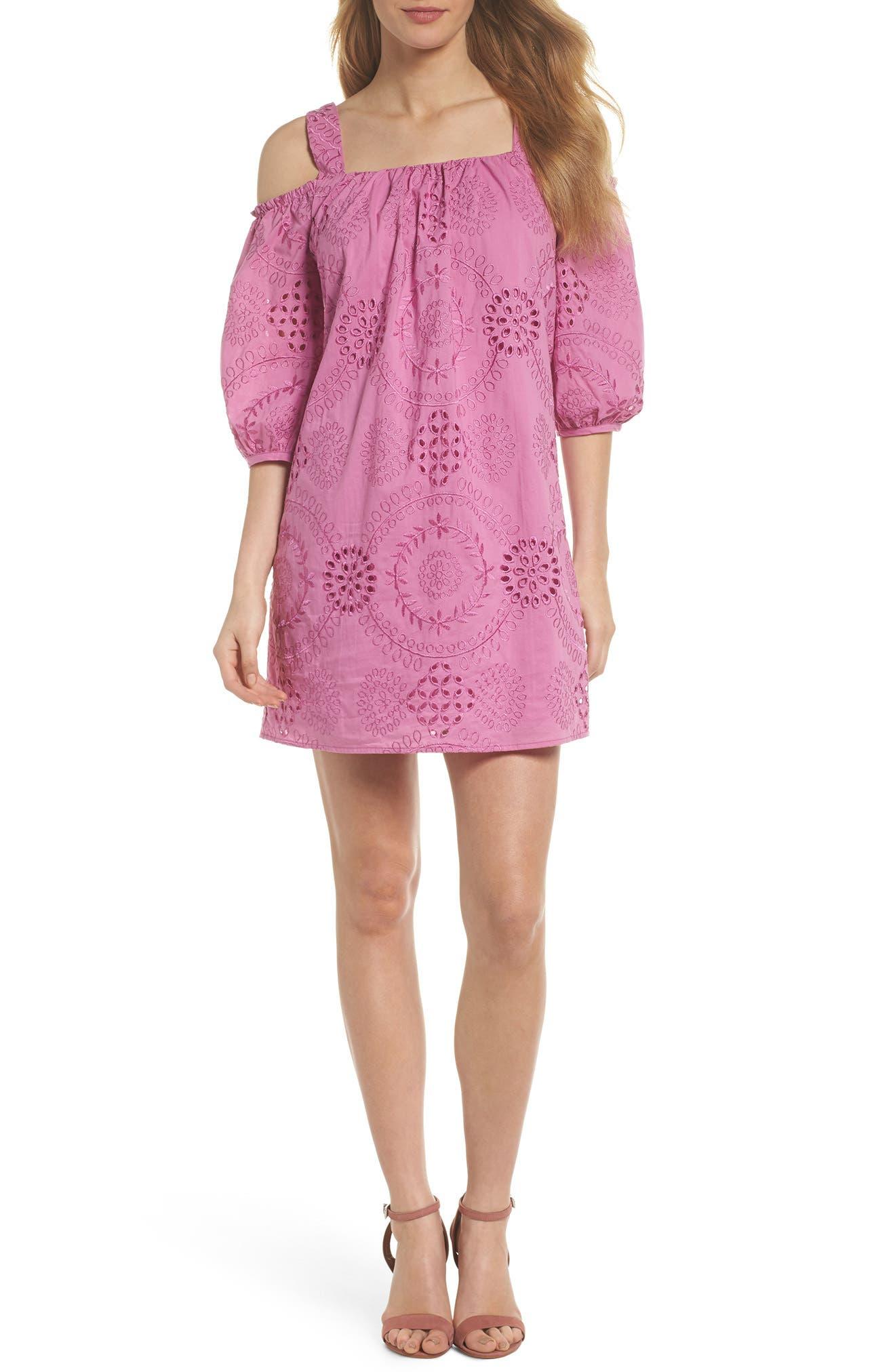 Tonnie Cold Shoulder Eyelet Dress,                         Main,                         color, Bougainvillea