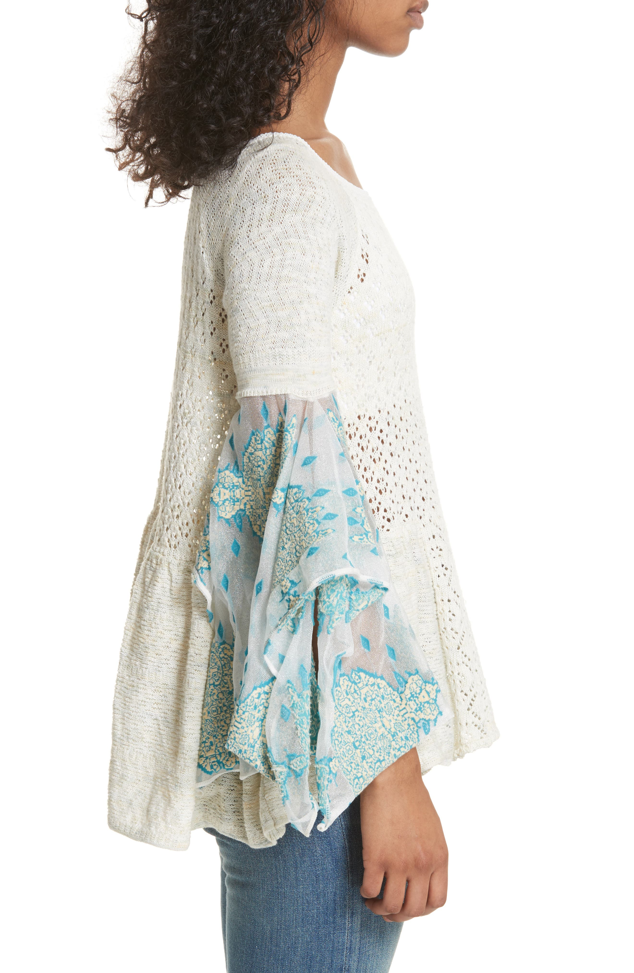 Pointelle Breeze Bell Sleeve Top,                             Alternate thumbnail 3, color,                             Ivory Combo