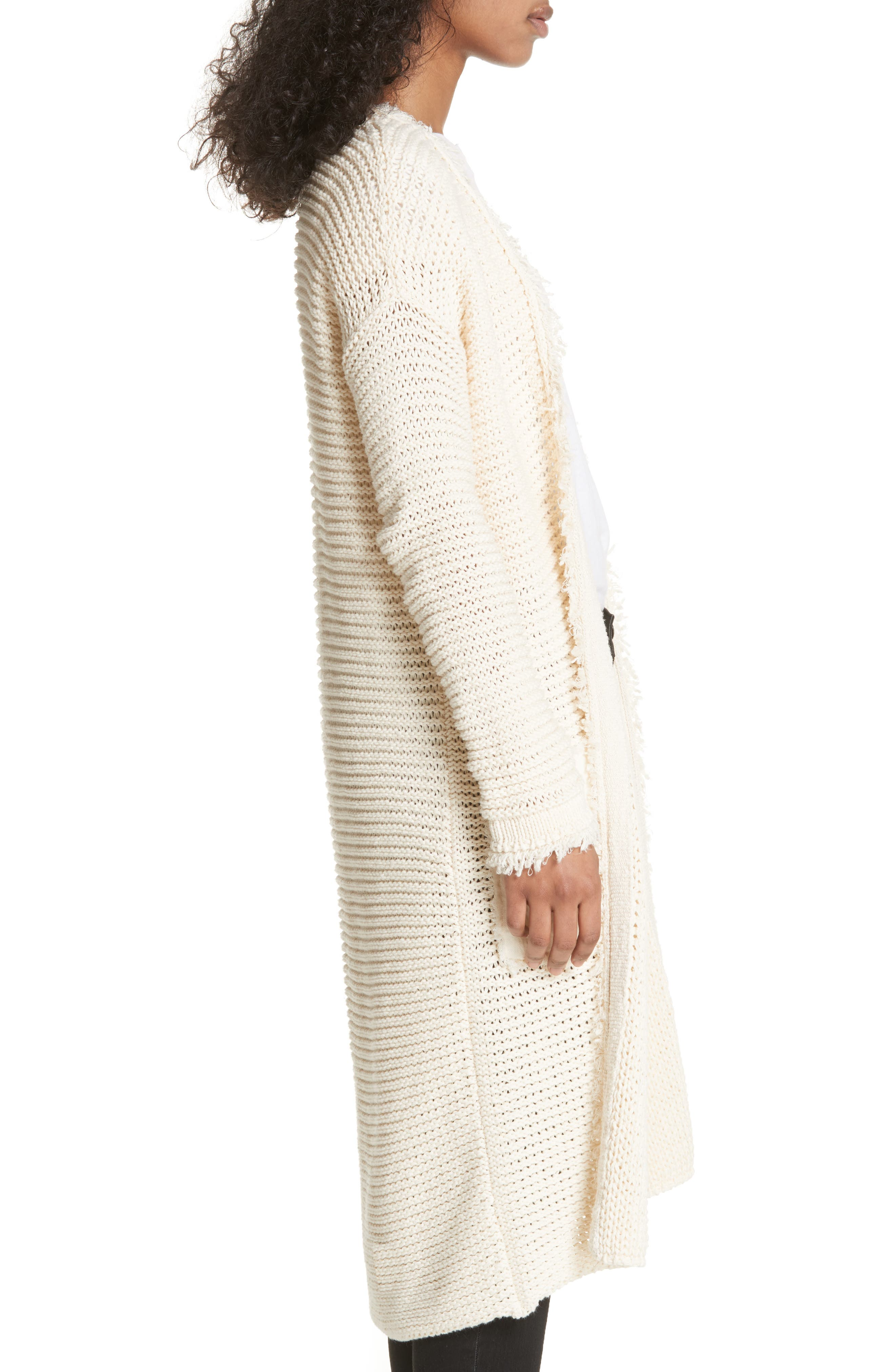 Woodstock Longline Cardigan,                             Alternate thumbnail 3, color,                             Ivory