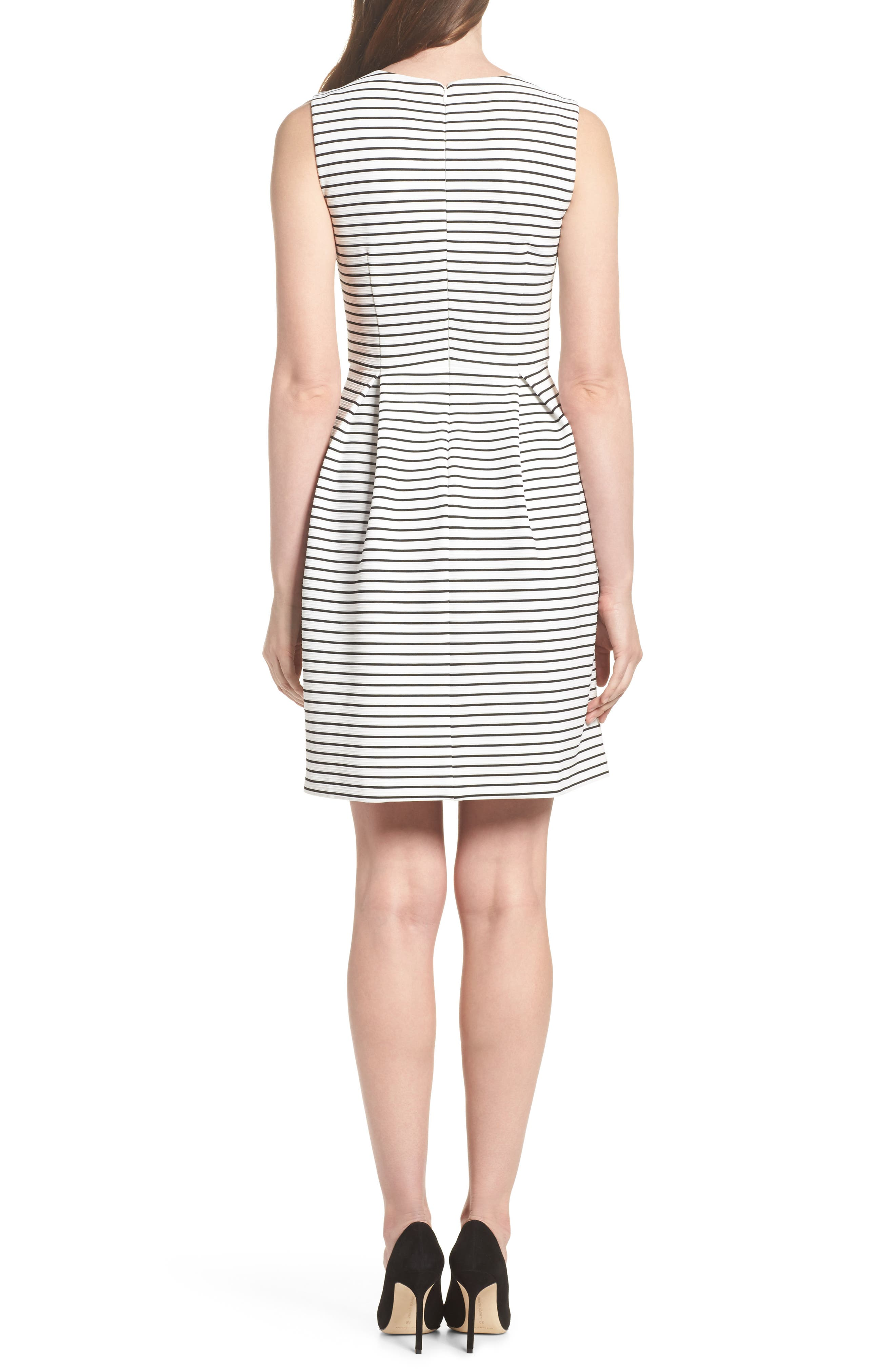 Stripe Fit & Flare Dress,                             Alternate thumbnail 2, color,                             Ivory/ Black