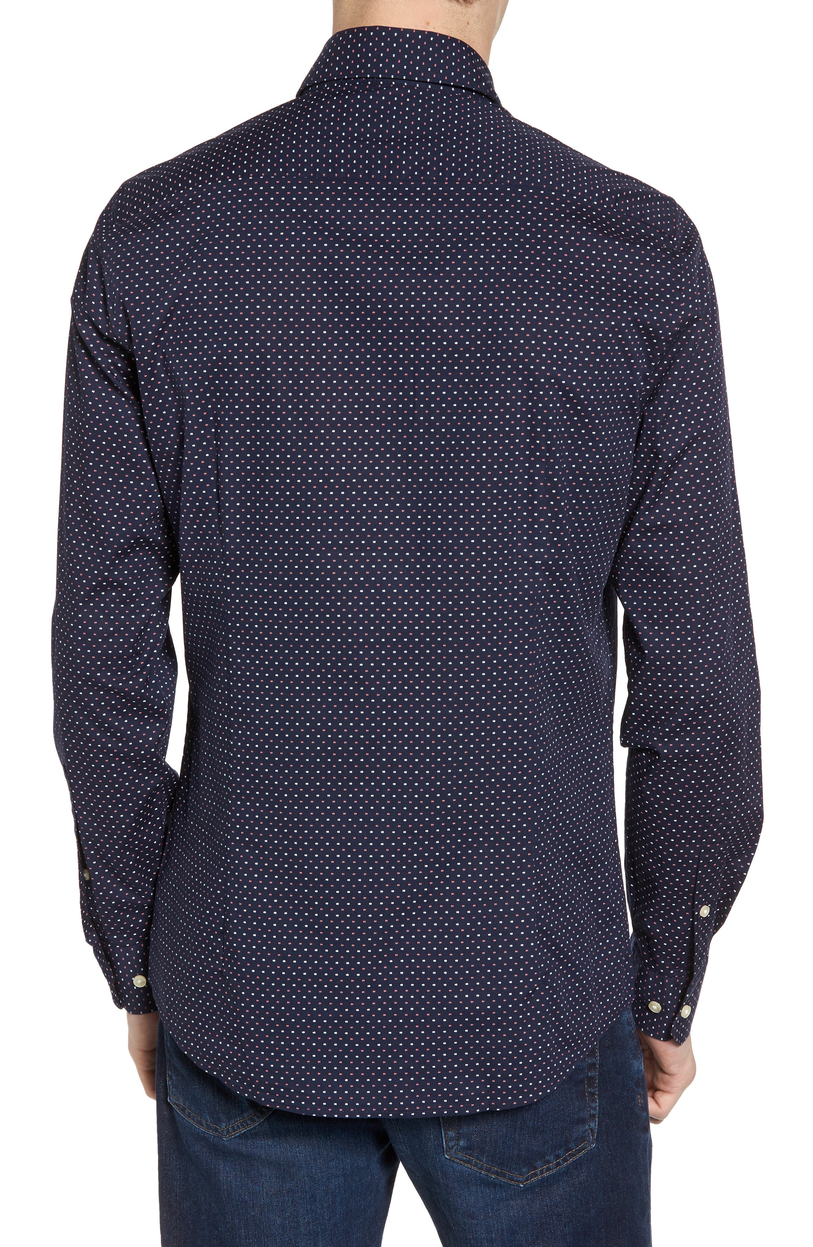 Cullen Trim Fit Print Sport Shirt,                             Alternate thumbnail 2, color,                             Navy