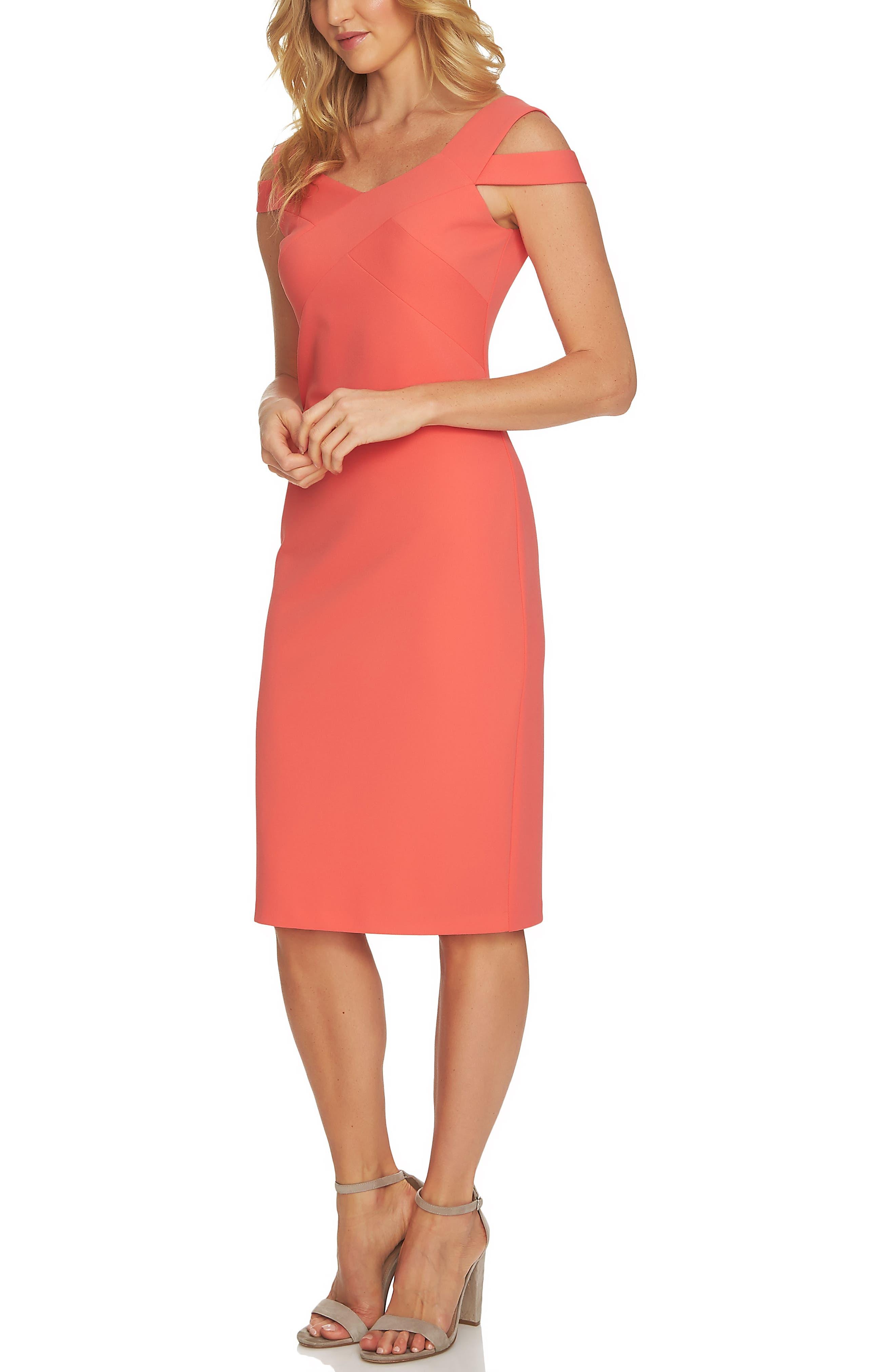 Cold Shoulder Crisscross A-Line Dress,                             Alternate thumbnail 3, color,                             Coral Bloom