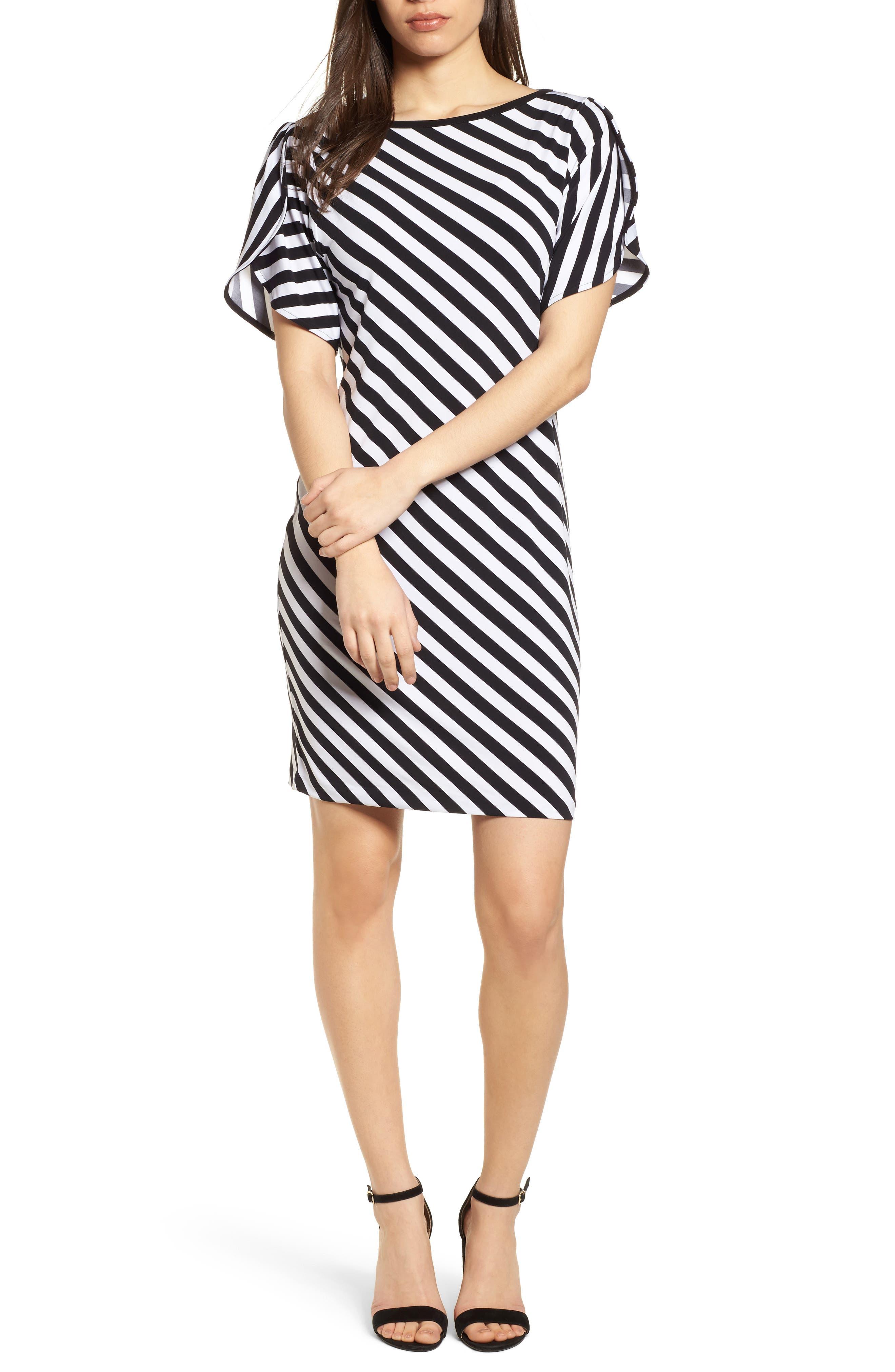 Tulip Sleeve Stripe Dress,                             Main thumbnail 1, color,                             Black/ White