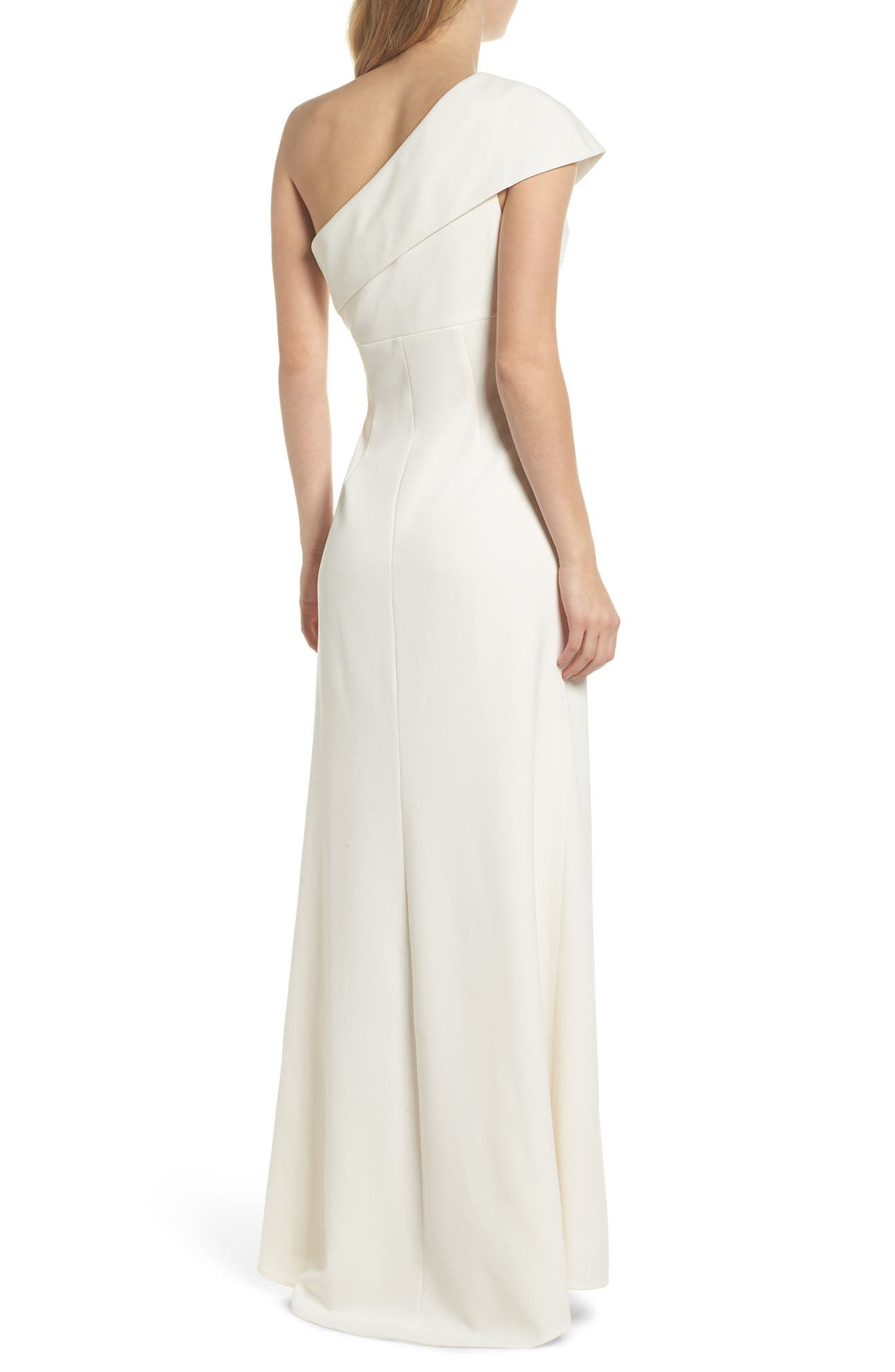One-Shoulder Crepe Gown,                             Alternate thumbnail 2, color,                             Ivory