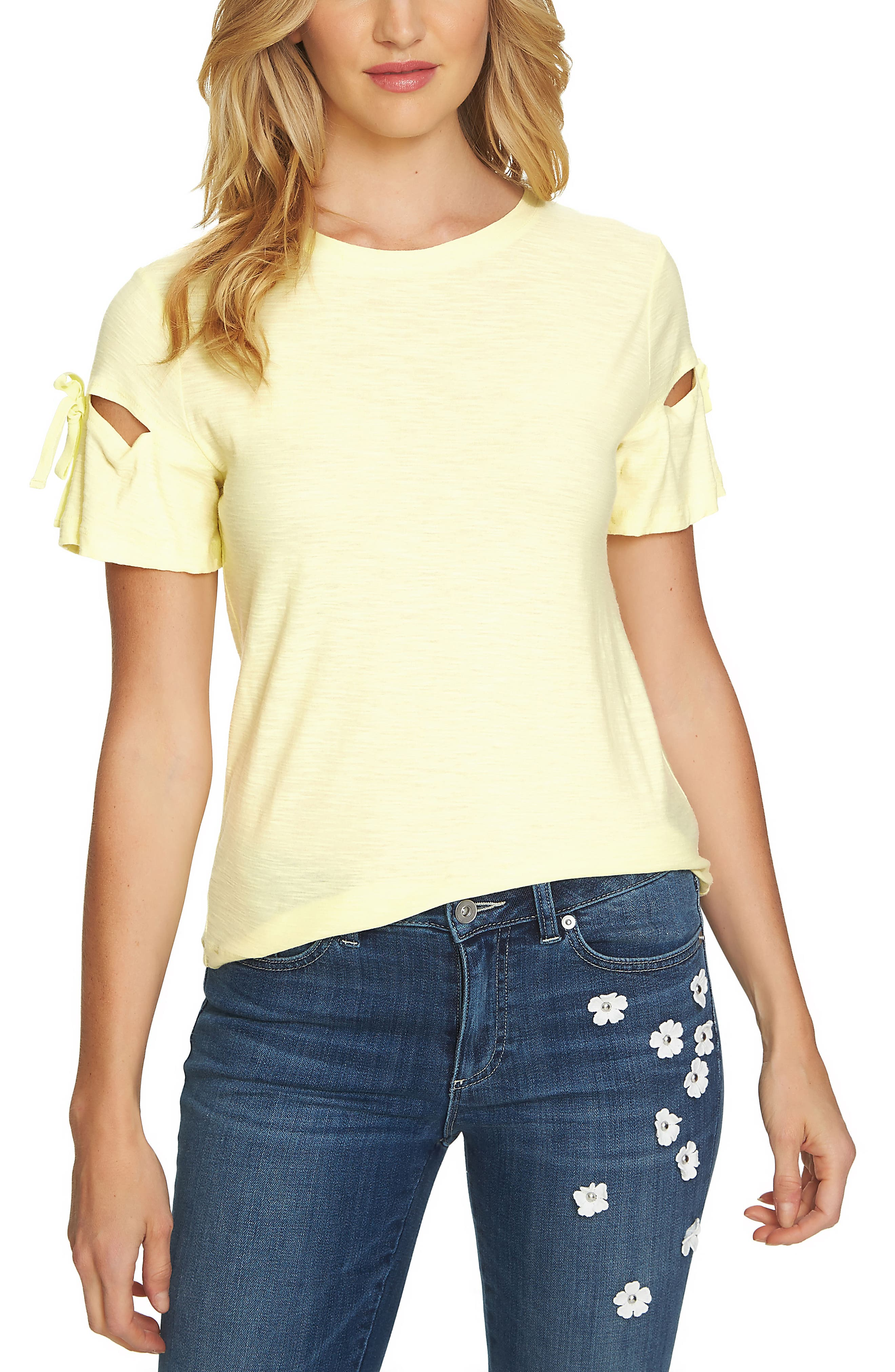 Bow Sleeve Knit Top,                             Main thumbnail 1, color,                             Finch Yellow