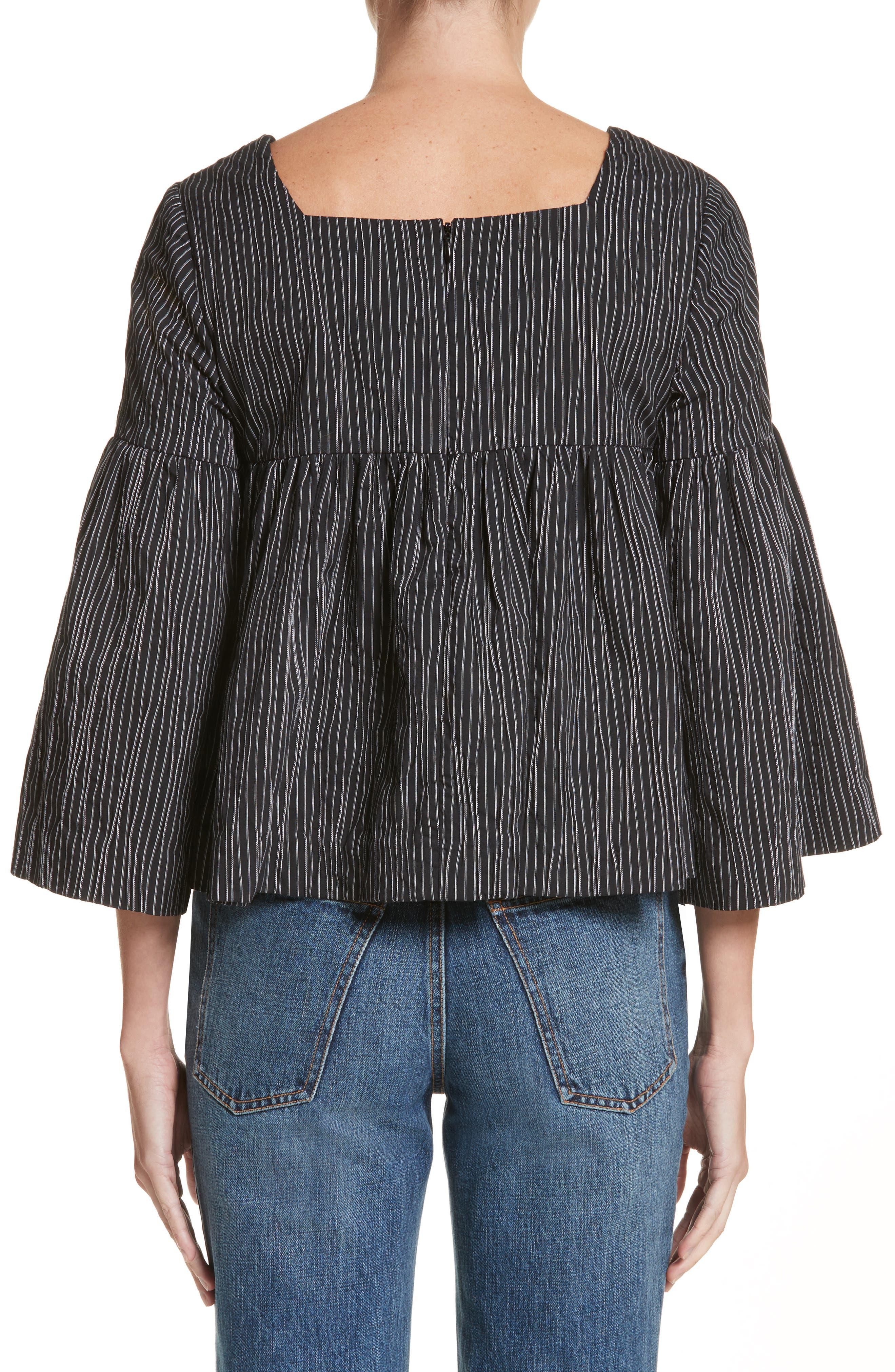 Stripe Crinkle Cotton Blend Swing Top,                             Alternate thumbnail 2, color,                             Black/ White Stripe