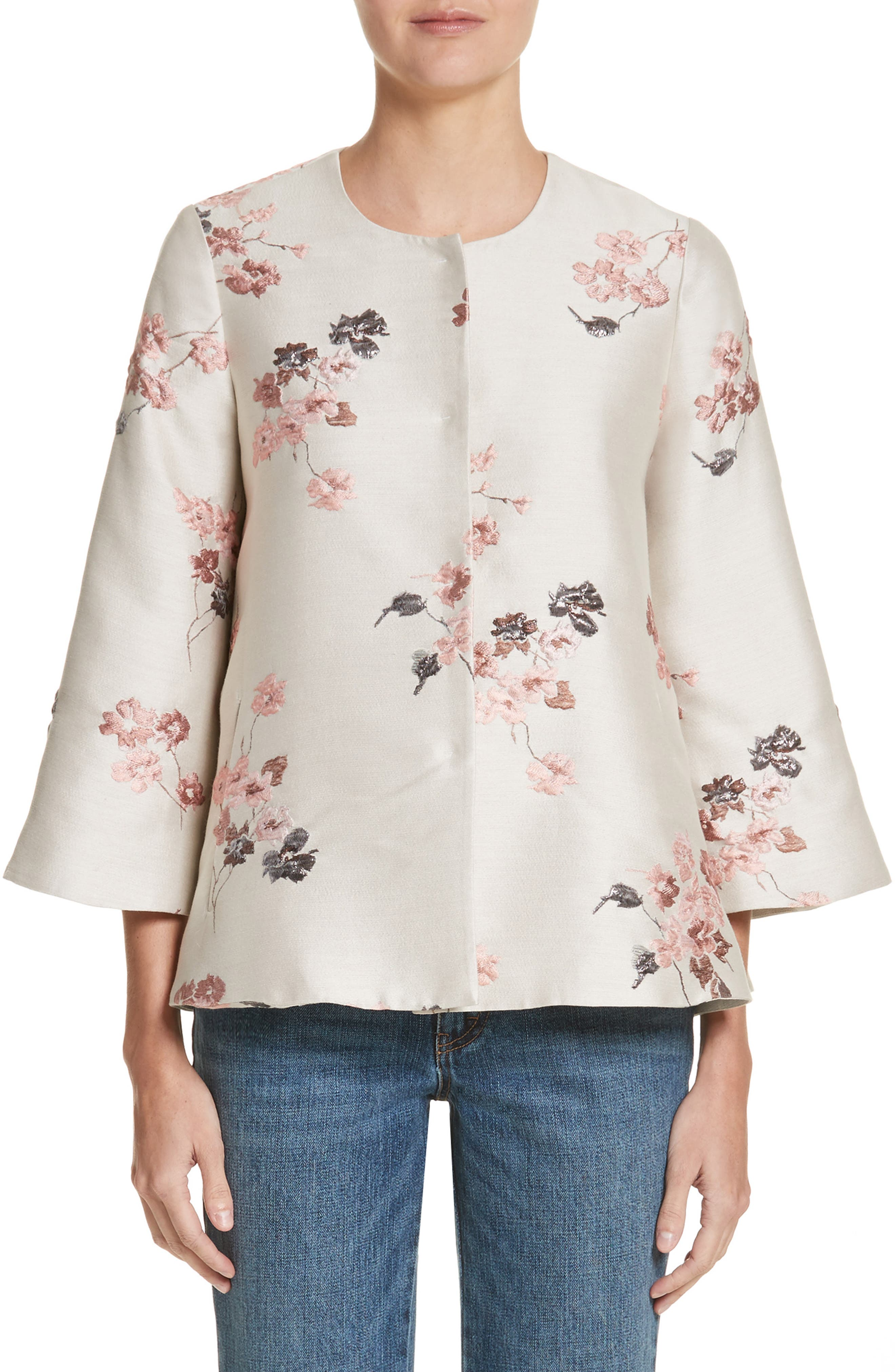 Co Floral Jacquard Swing Jacket