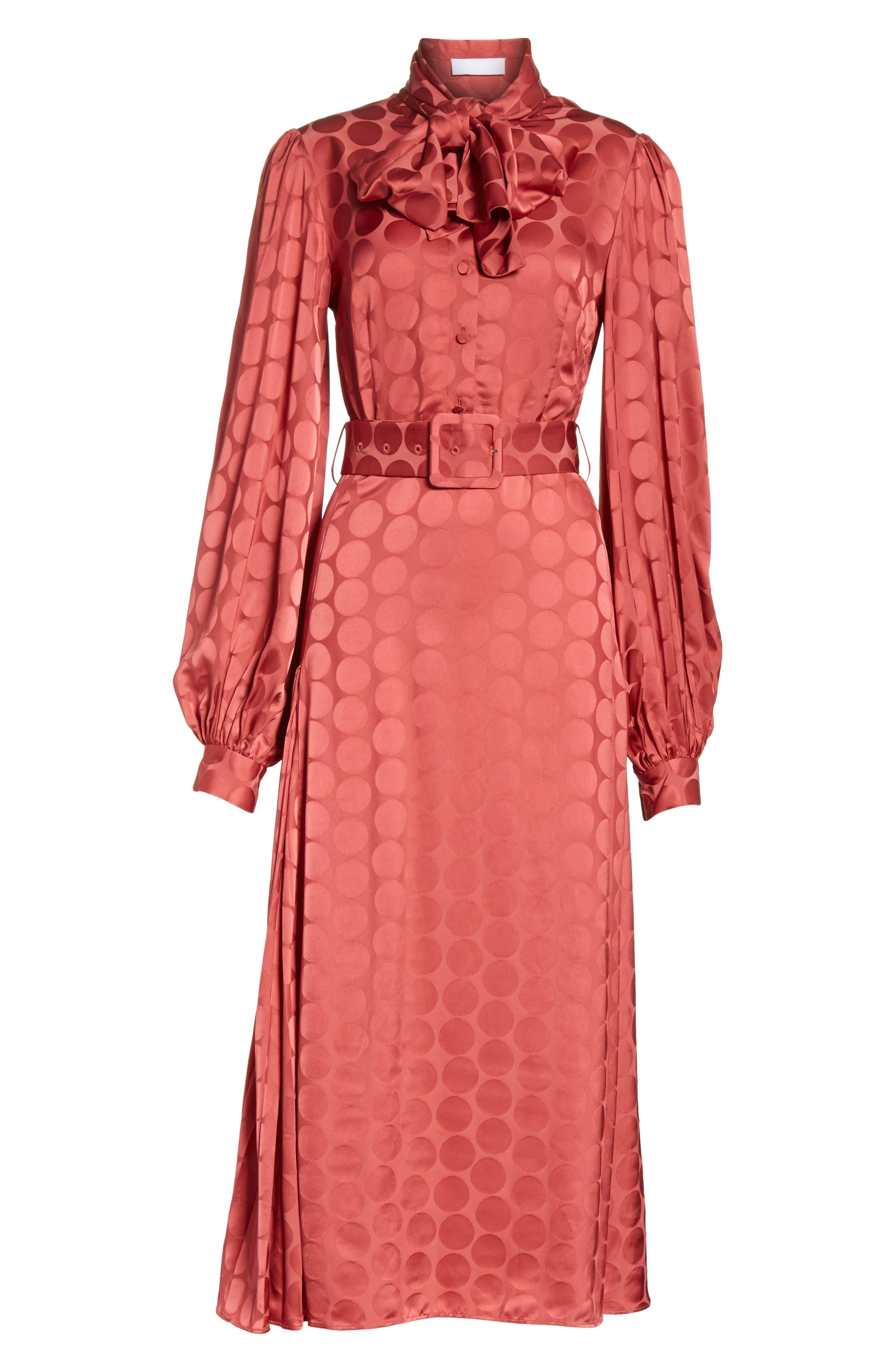 Tonal Dot Tie Neck Midi Dress,                             Alternate thumbnail 6, color,                             Coral