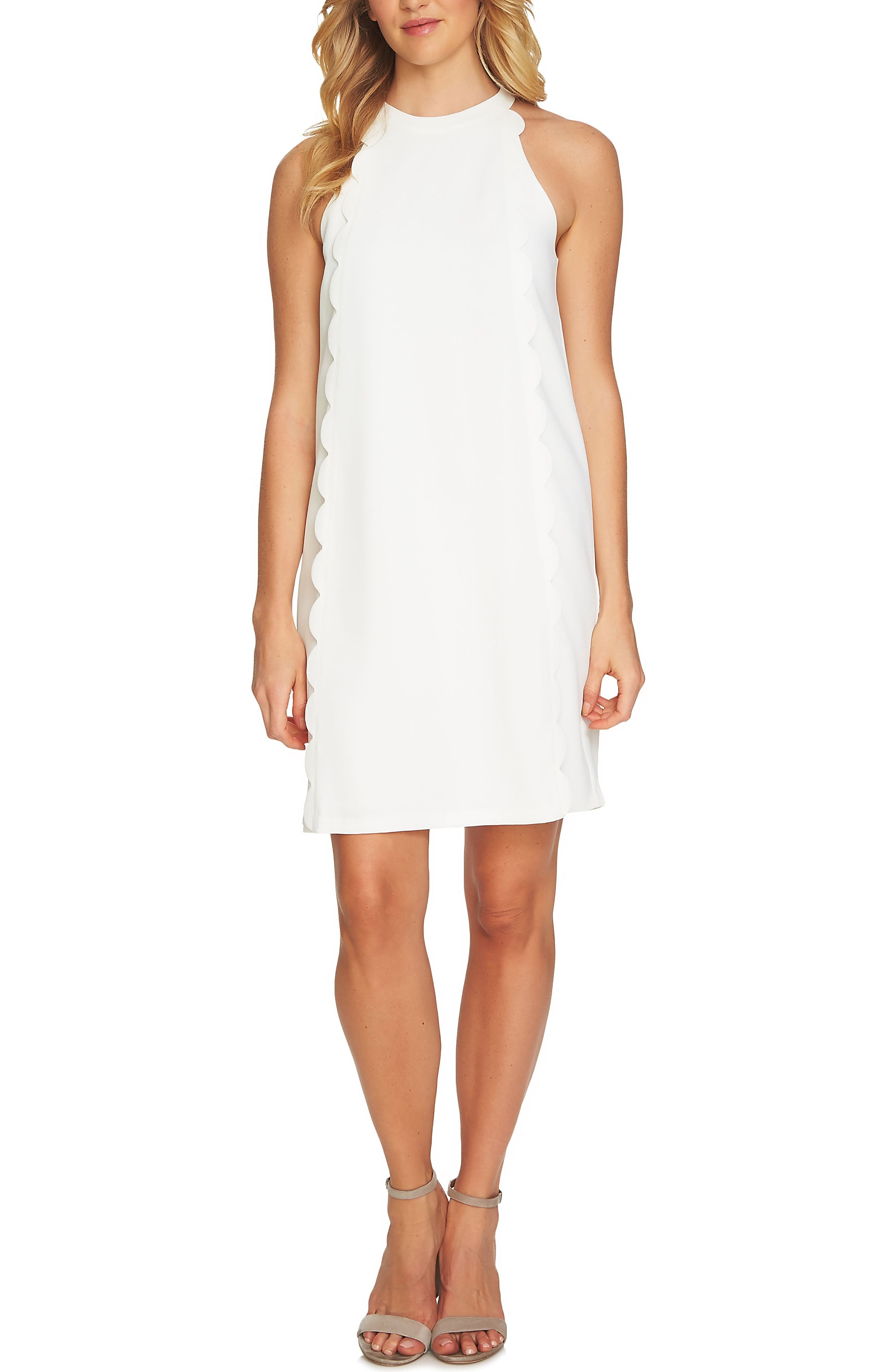 Scalloped Shift Dress,                         Main,                         color, Antique White
