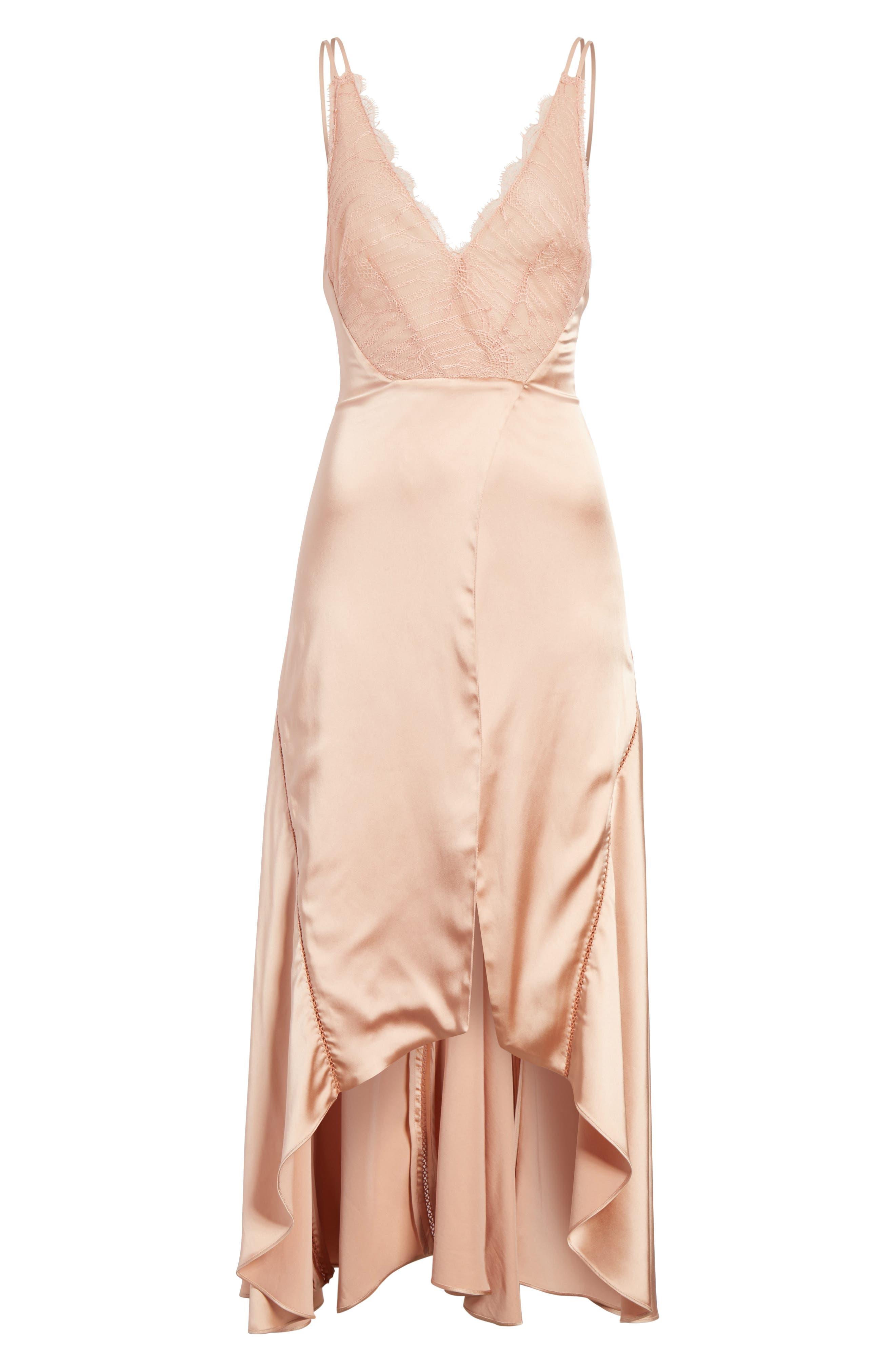 Mixed Trim Satin Handkerchief Dress,                             Alternate thumbnail 8, color,                             Bronze