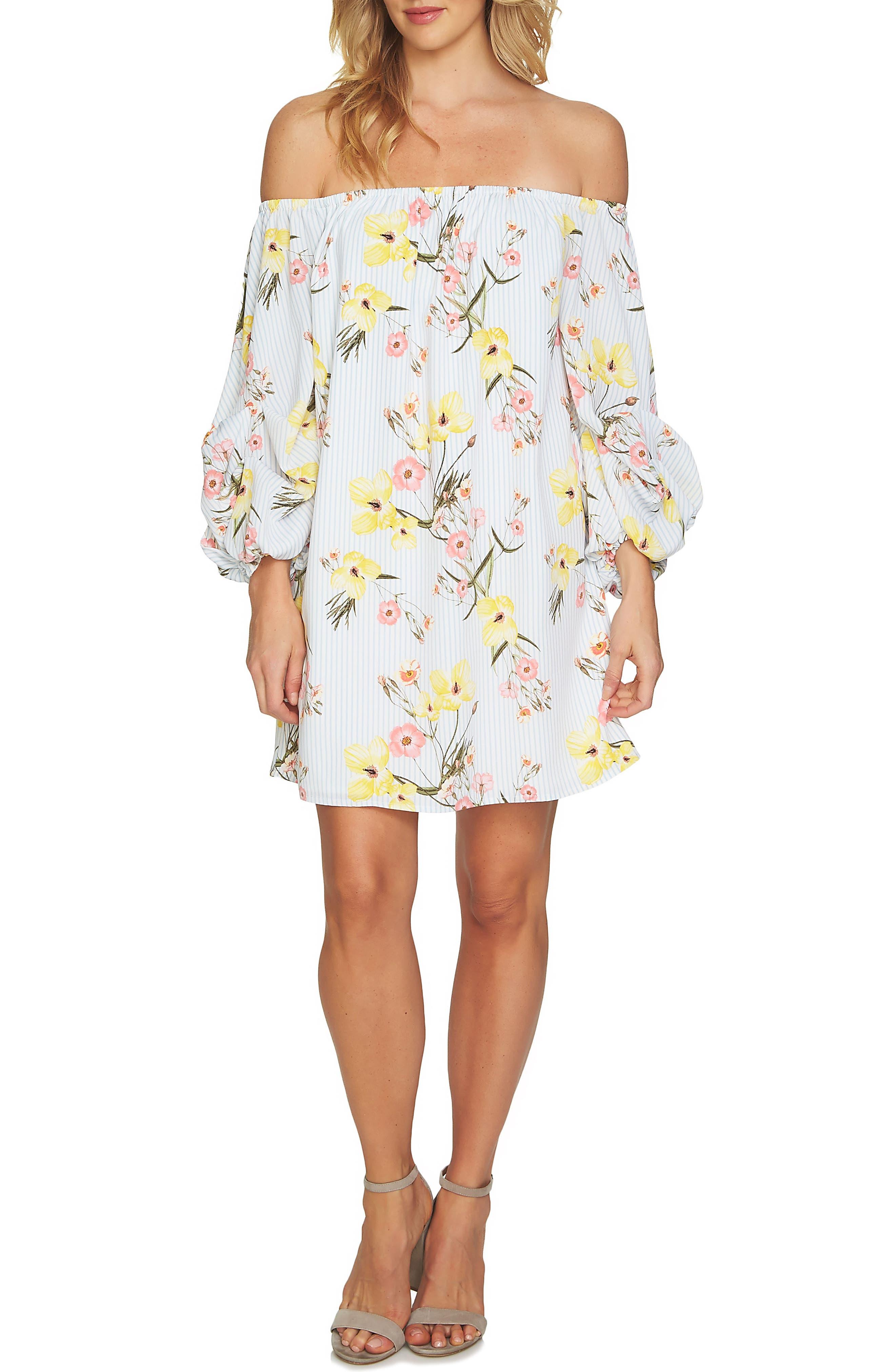 CeCe Off the Shoulder Botanical Tunic Dress