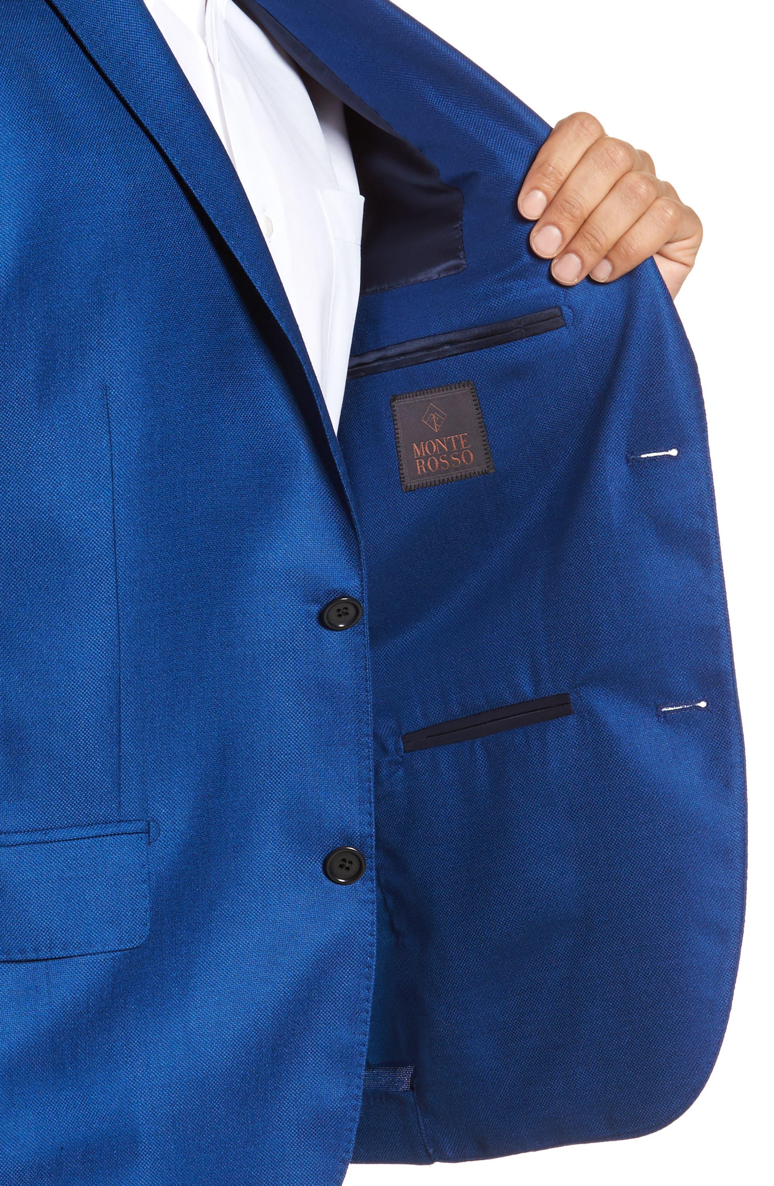 Trim Fit Cashmere & Silk Blazer,                             Alternate thumbnail 4, color,                             Blue
