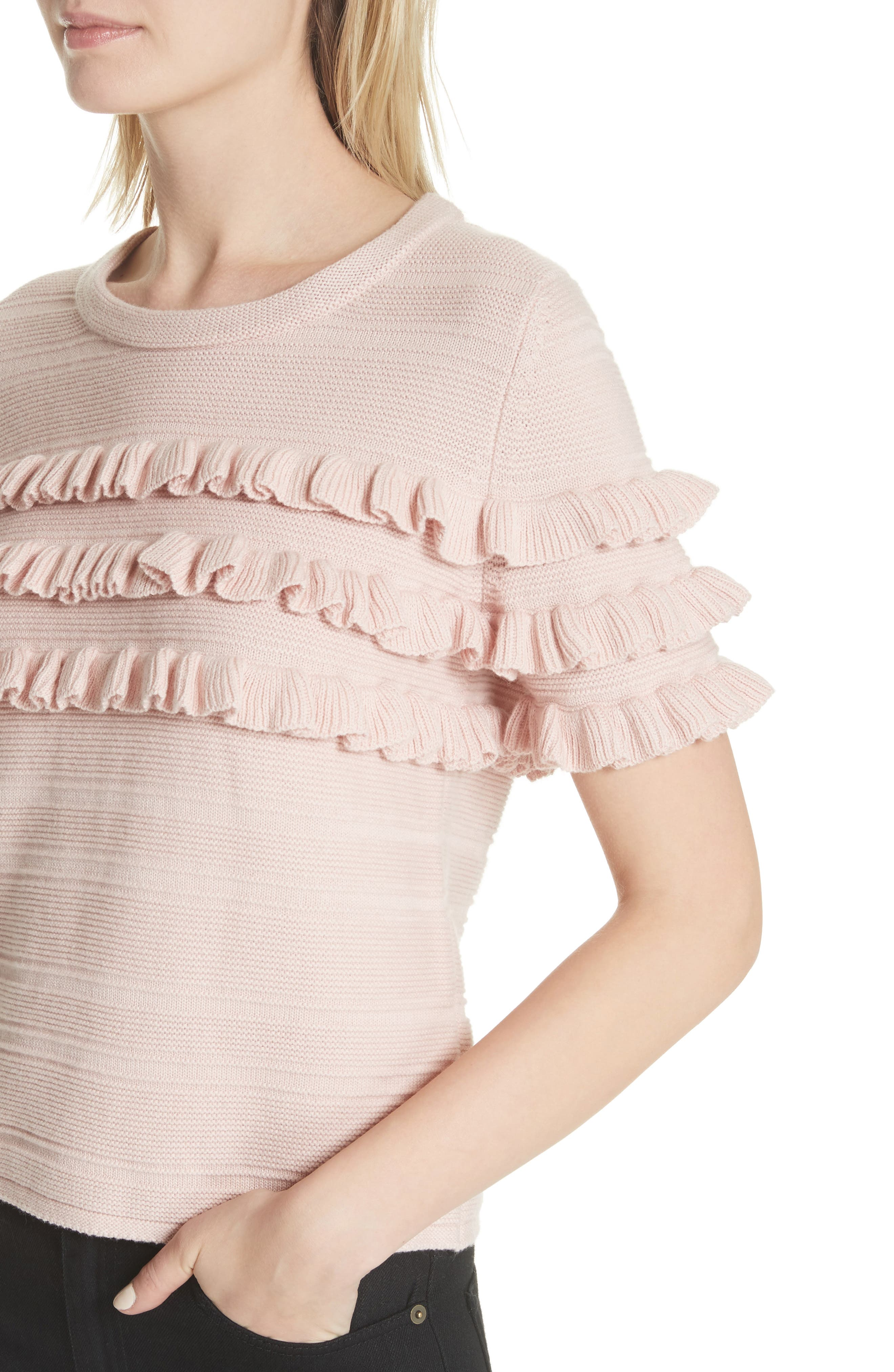 ruffled cotton & cashmere sweater,                             Alternate thumbnail 4, color,                             Cameo Pink