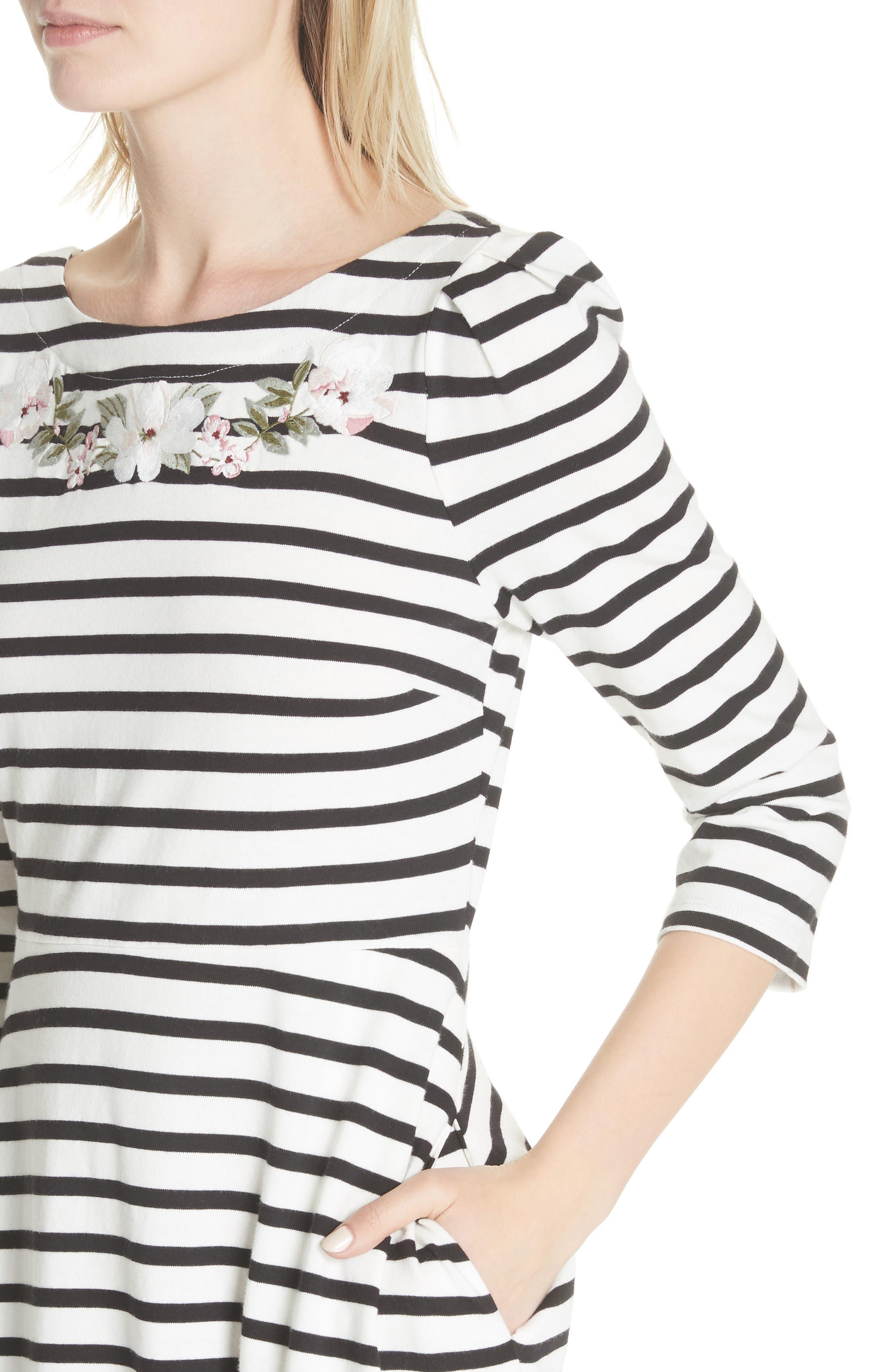 stripe fit & flare dress,                             Alternate thumbnail 4, color,                             Off-White/ Black