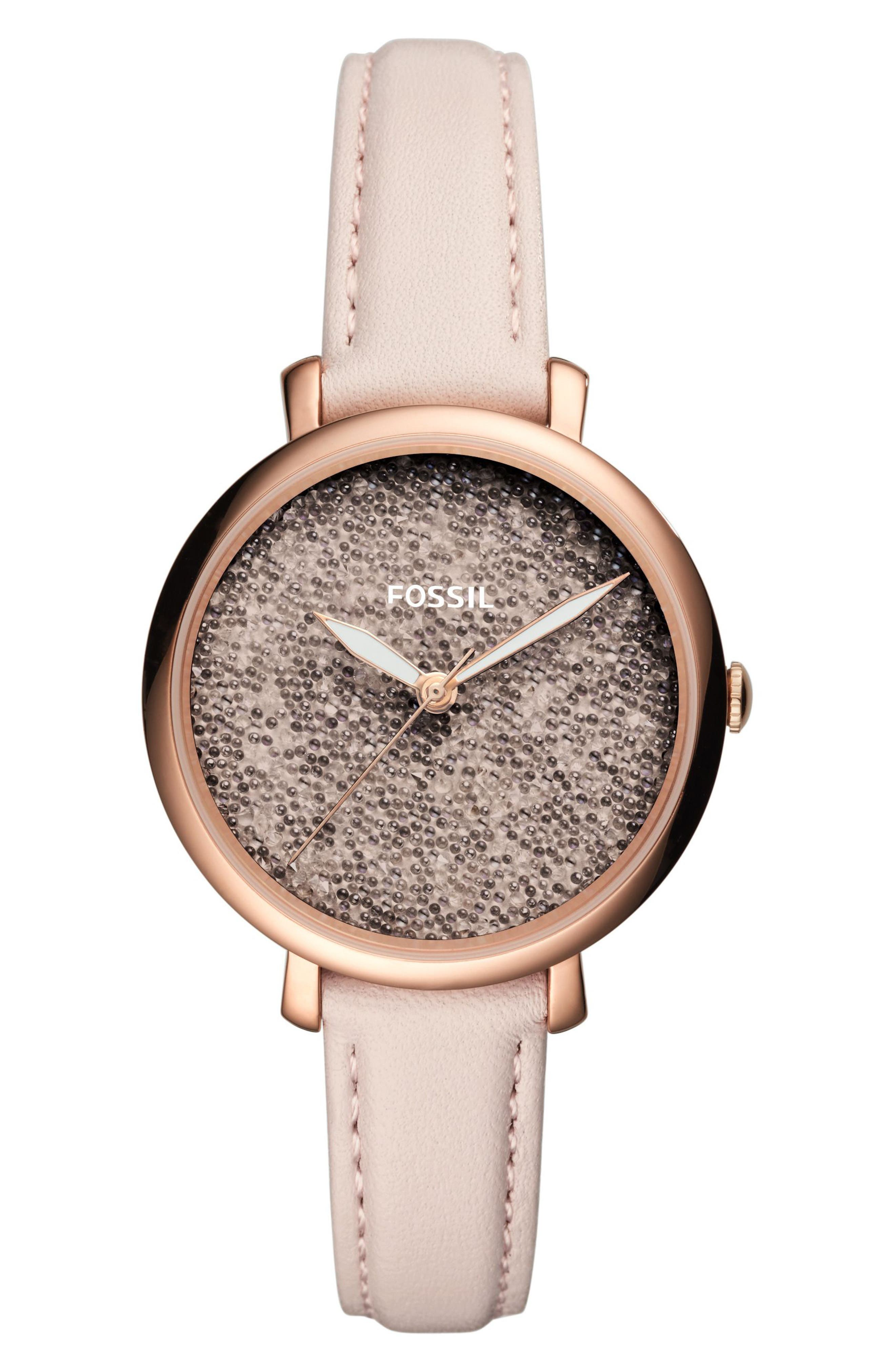 Jacqueline Leather Strap Watch, 36mm,                         Main,                         color, Pink/ Rose Gold