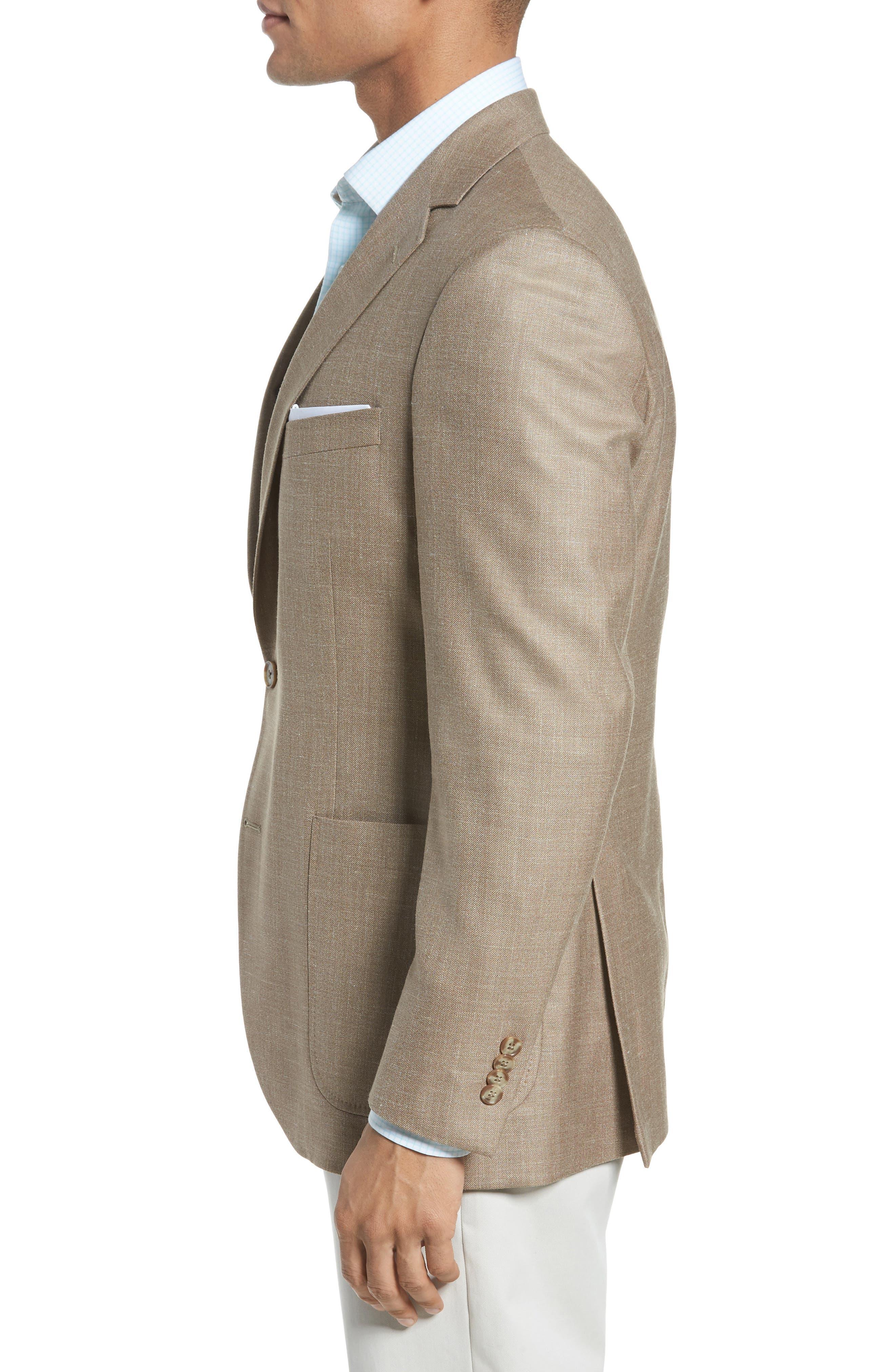 Classic Fit Wool Blend Blazer,                             Alternate thumbnail 3, color,                             Tan