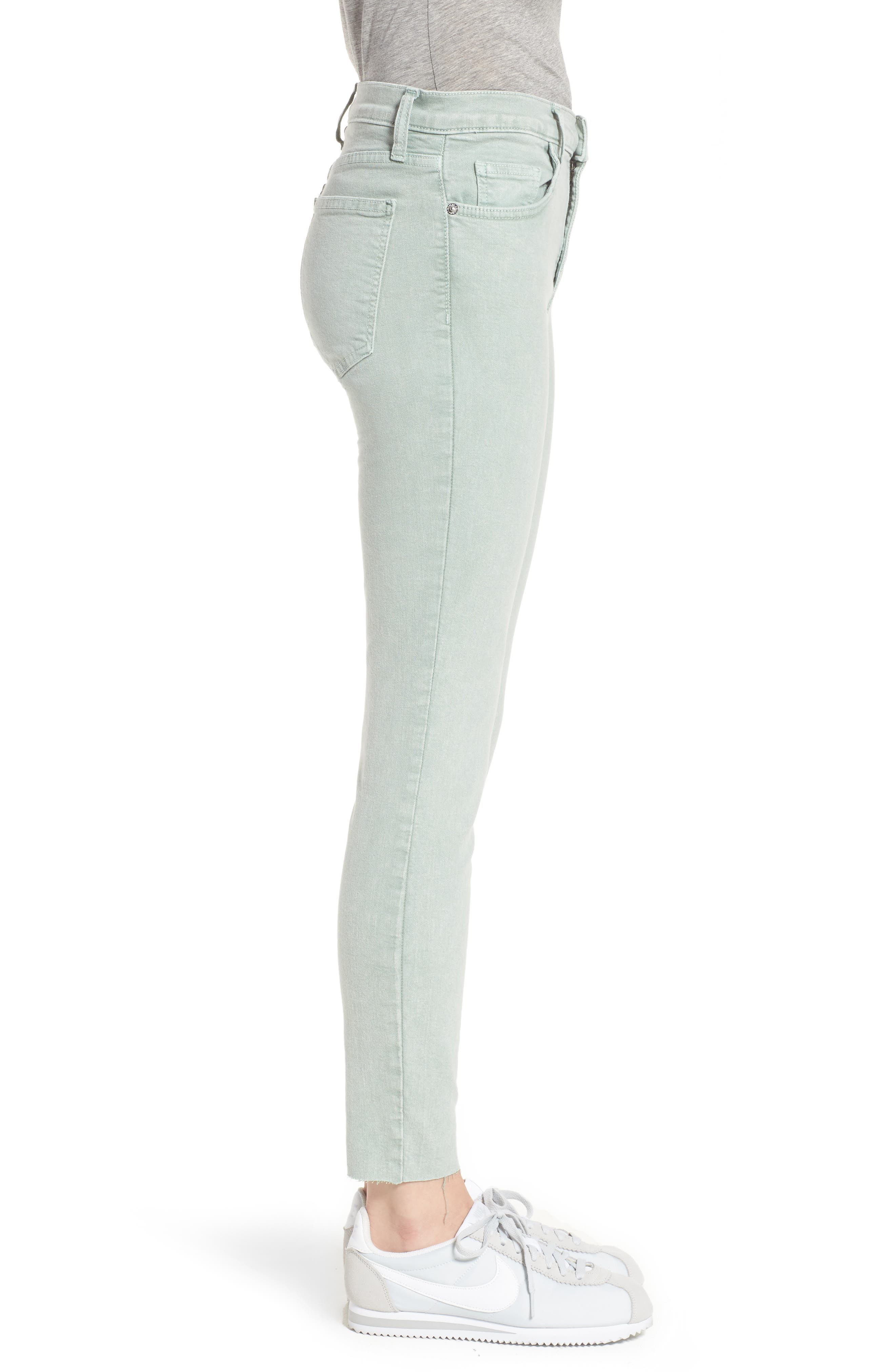 The High Waist Ankle Skinny Jeans,                             Alternate thumbnail 3, color,                             Iceberg Green