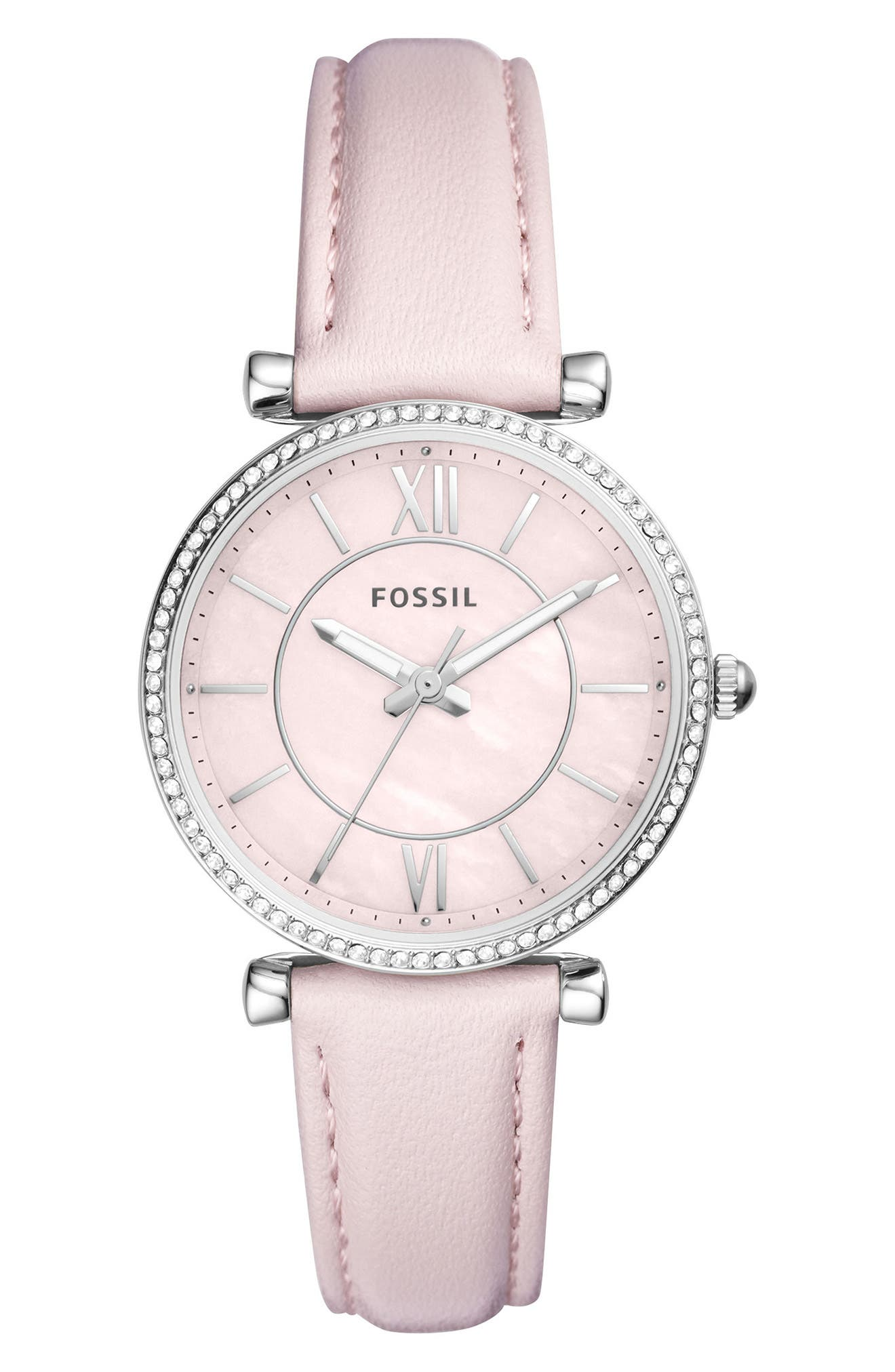 Carlie Leather Strap Watch, 35mm,                         Main,                         color, Pink/ Silver