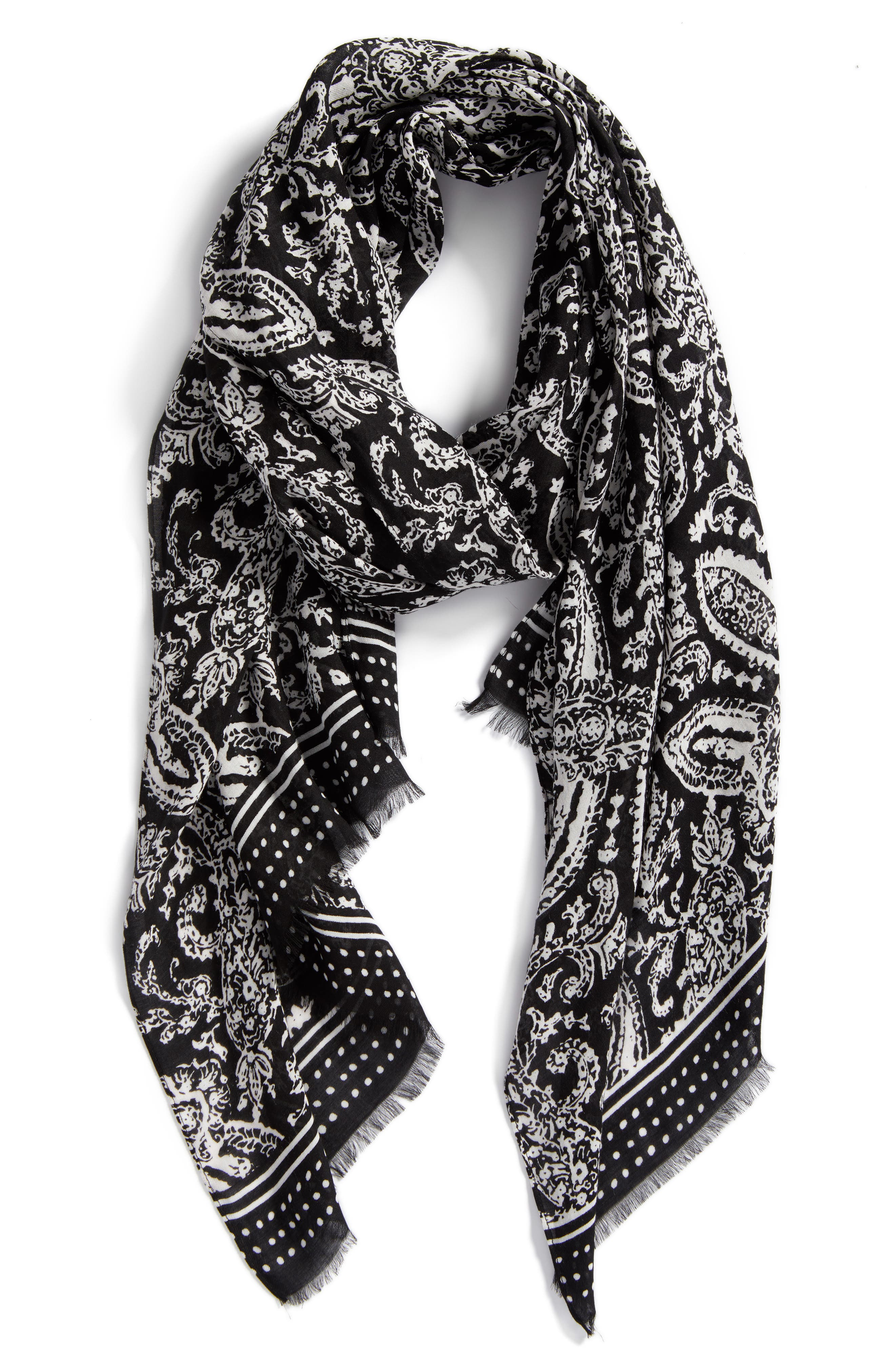 Ornament Paisley Scarf,                             Alternate thumbnail 2, color,                             Black