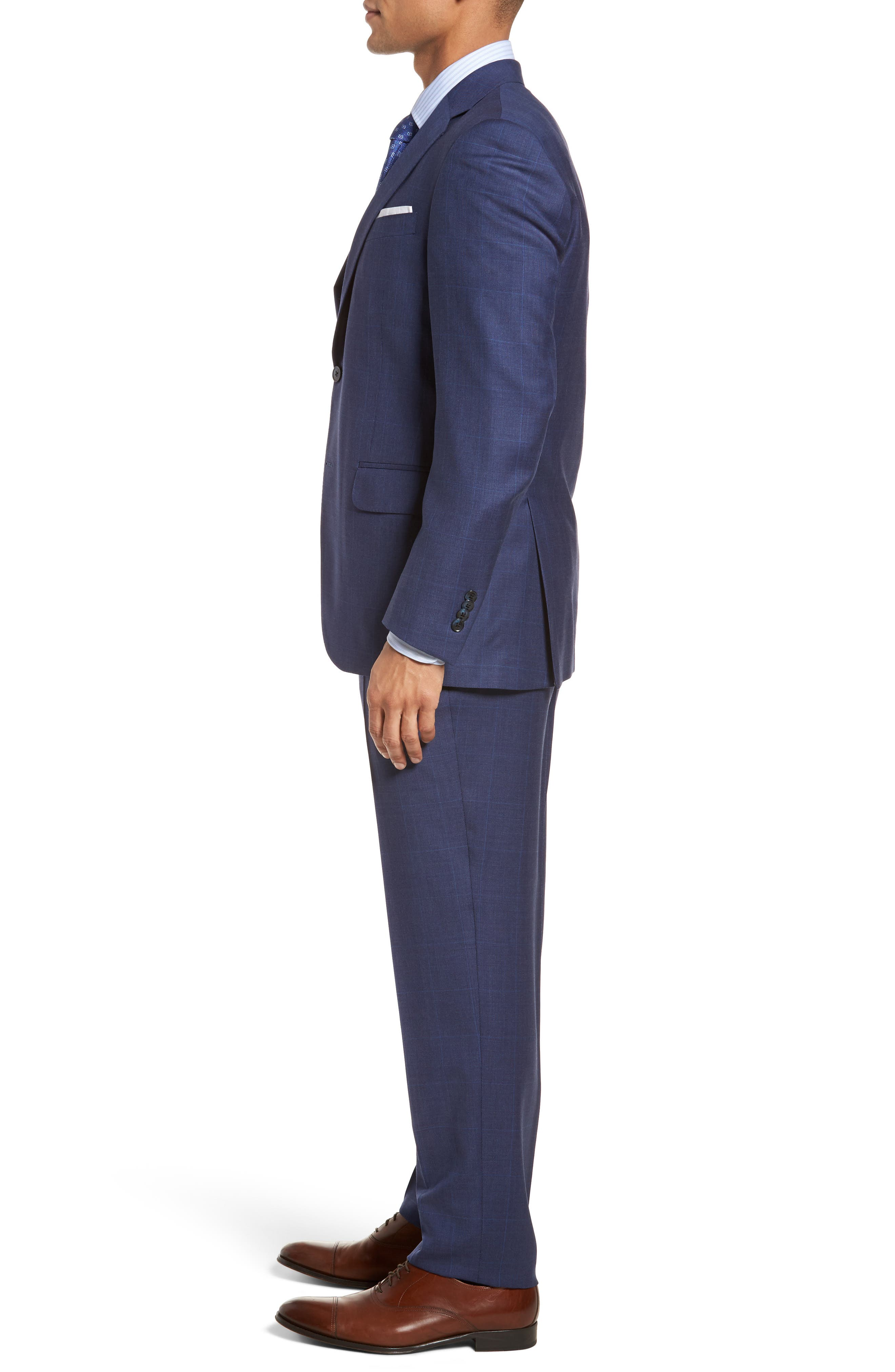 Classic Fit Plaid Wool Suit,                             Alternate thumbnail 3, color,                             Blue