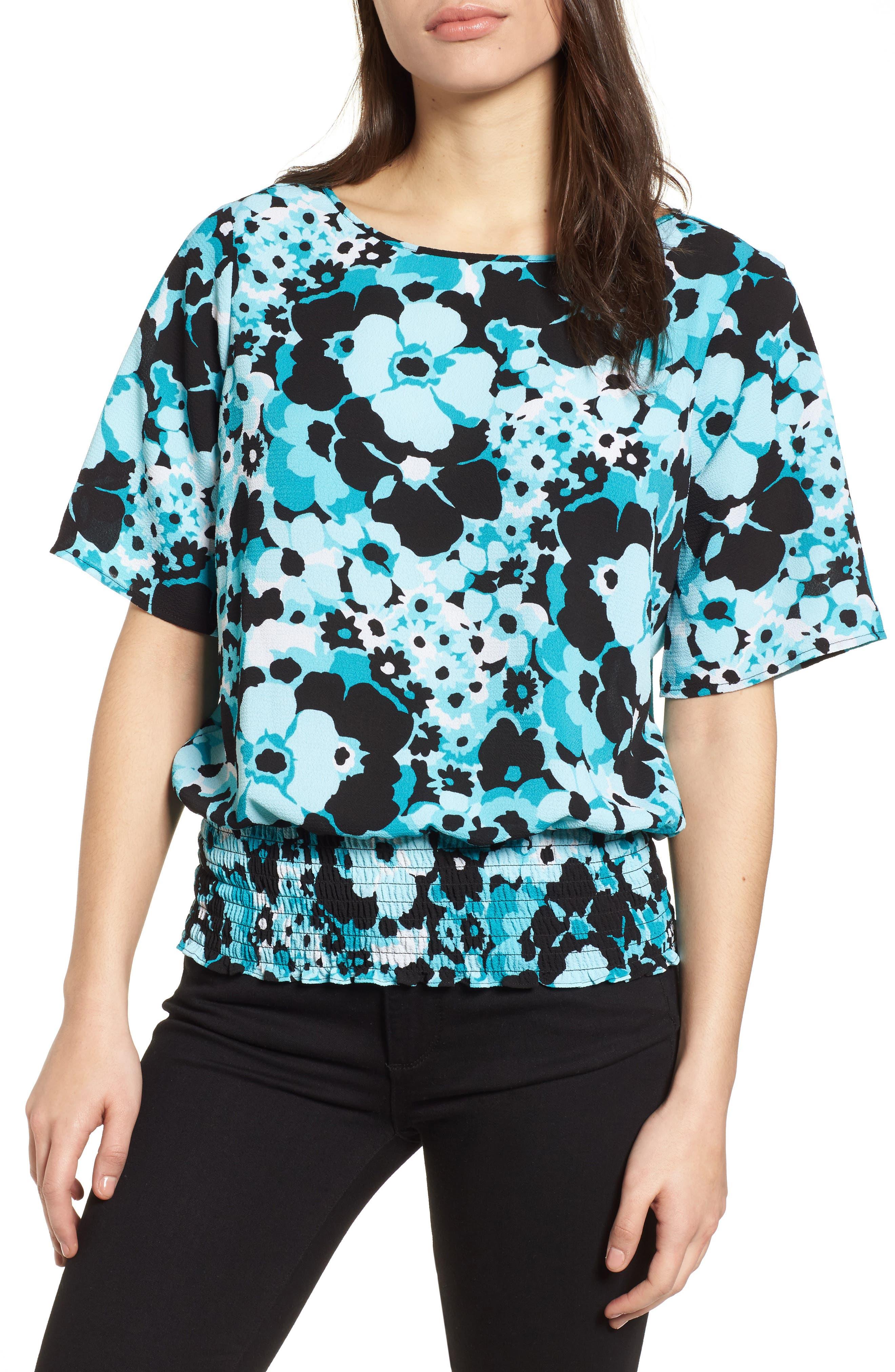 Springtime Floral Kimono Top,                             Main thumbnail 1, color,                             Tile Blue/ Black Multi