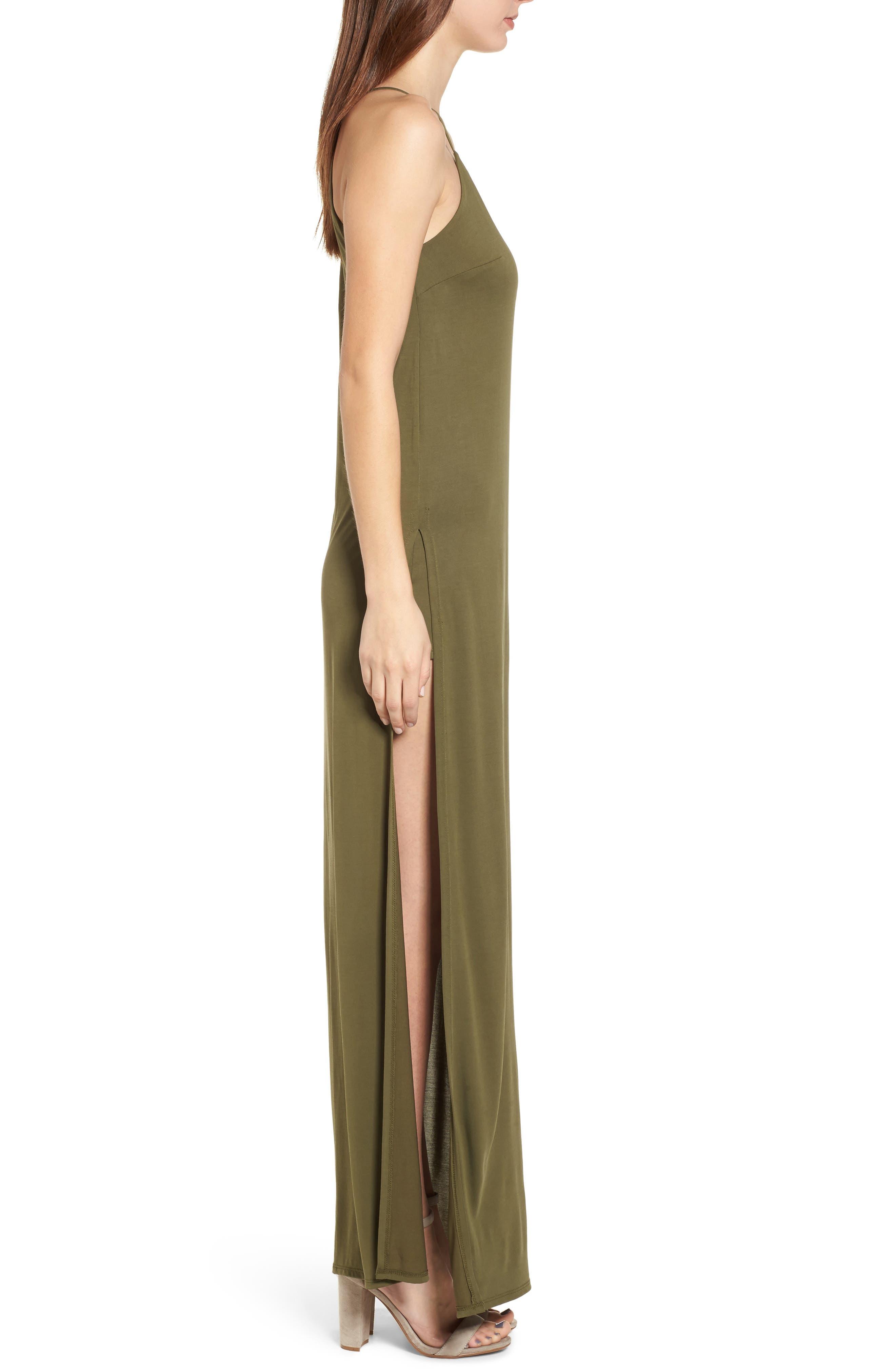 High Slit Maxi Dress,                             Alternate thumbnail 3, color,                             Olive Sarma