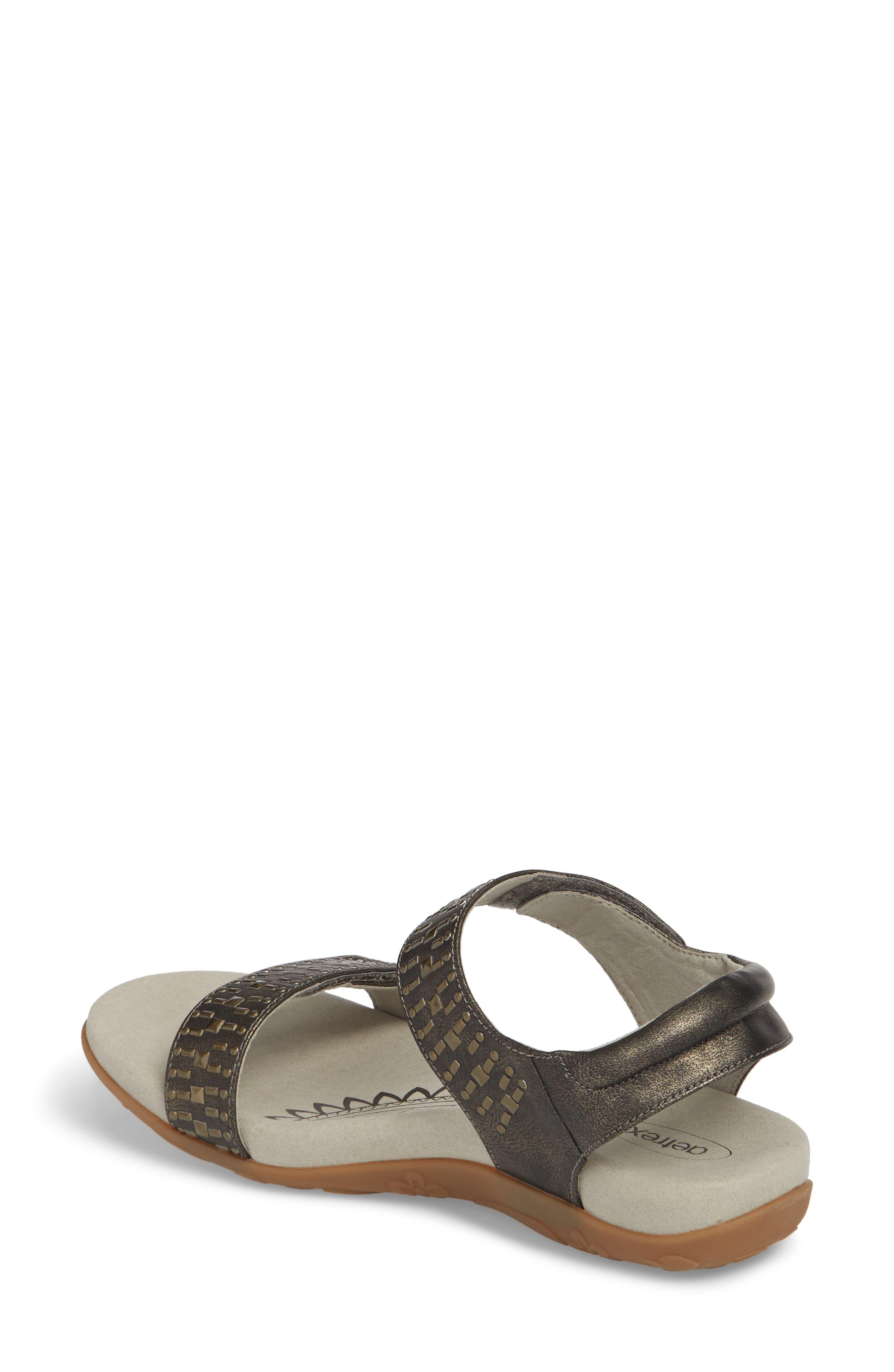 'Maria' Sandal,                             Alternate thumbnail 2, color,                             Pewter Leather
