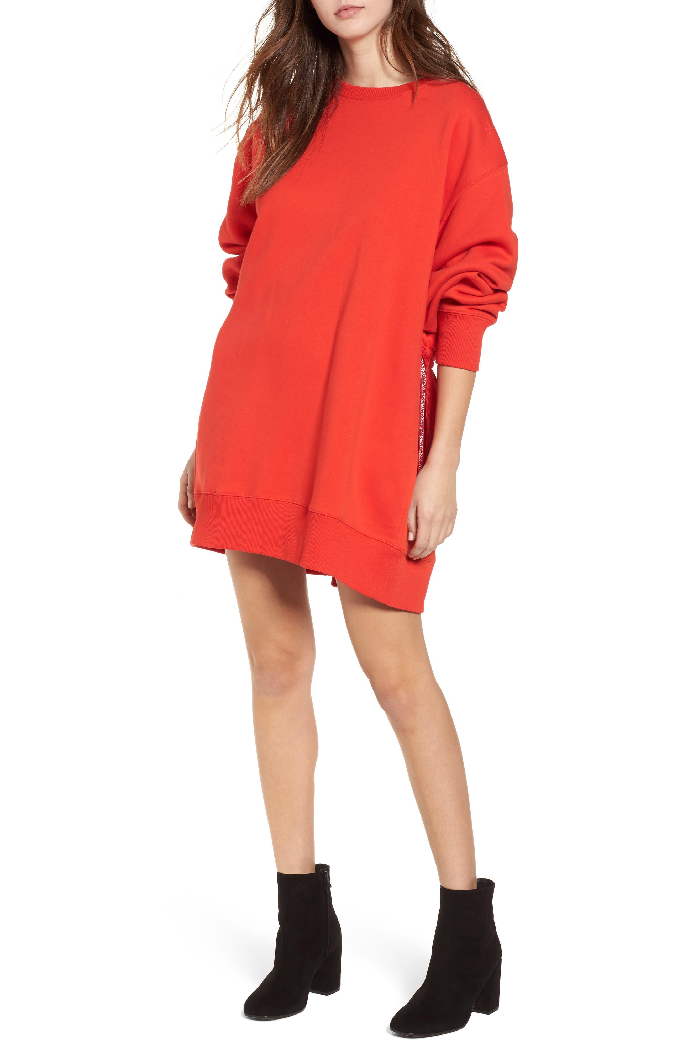 x Gigi Hadid Sweatshirt Dress,                         Main,                         color, Flame Scarlet
