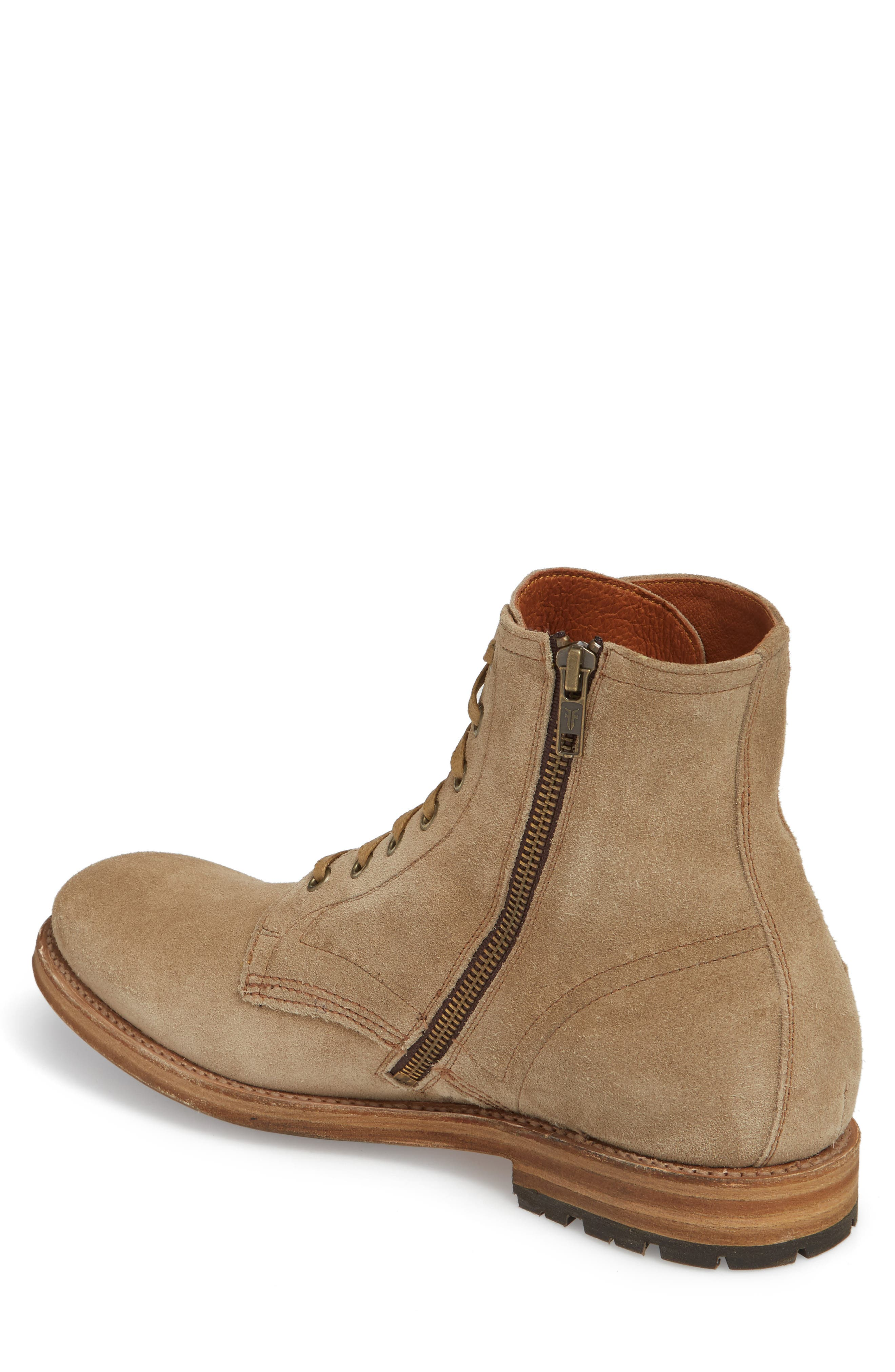 Fry Bowery Side Zip Combat Boot,                             Alternate thumbnail 2, color,                             Ash Suede