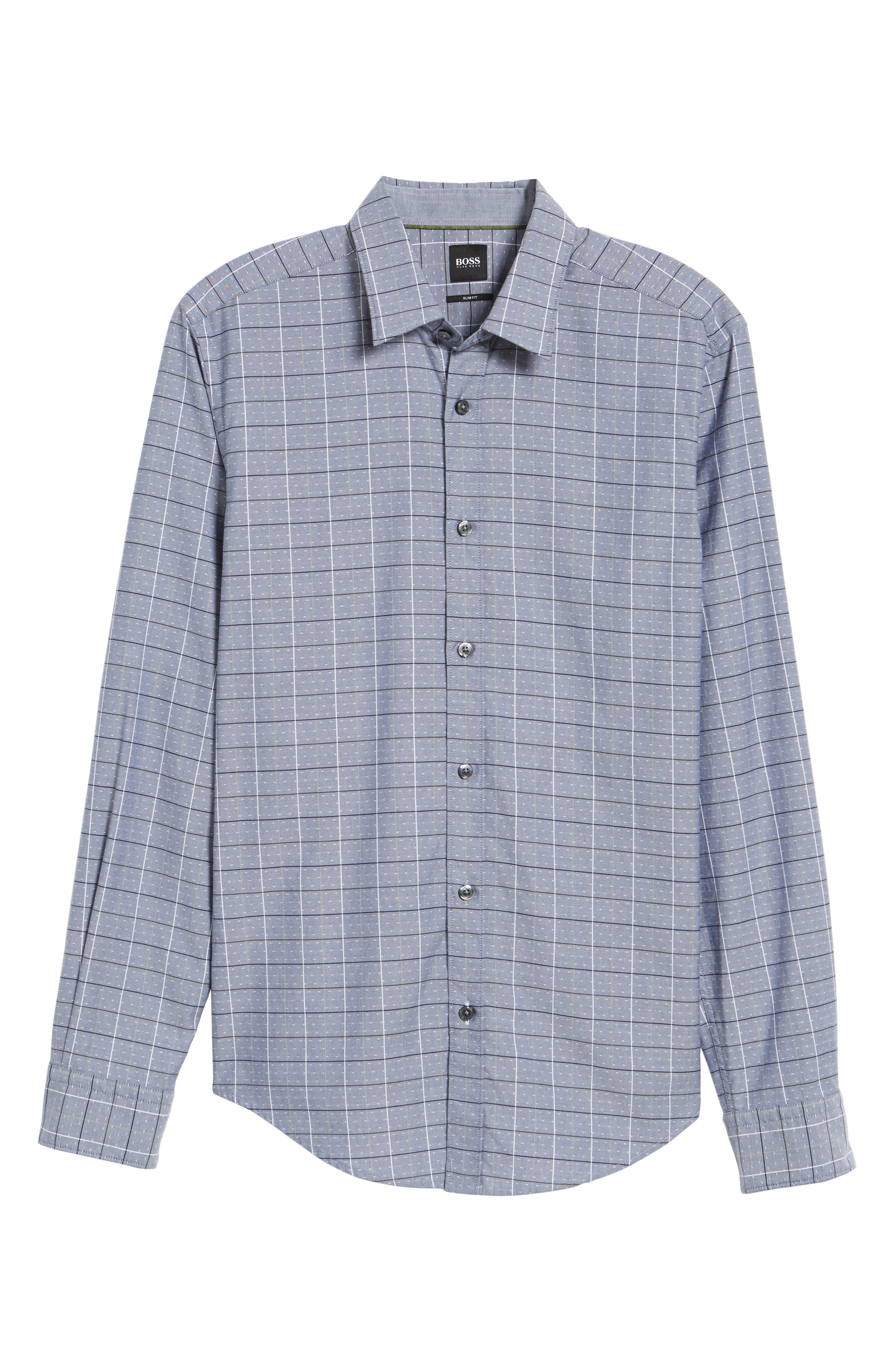 Ronni Slim Fit Check Sport Shirt,                             Alternate thumbnail 6, color,                             Blue