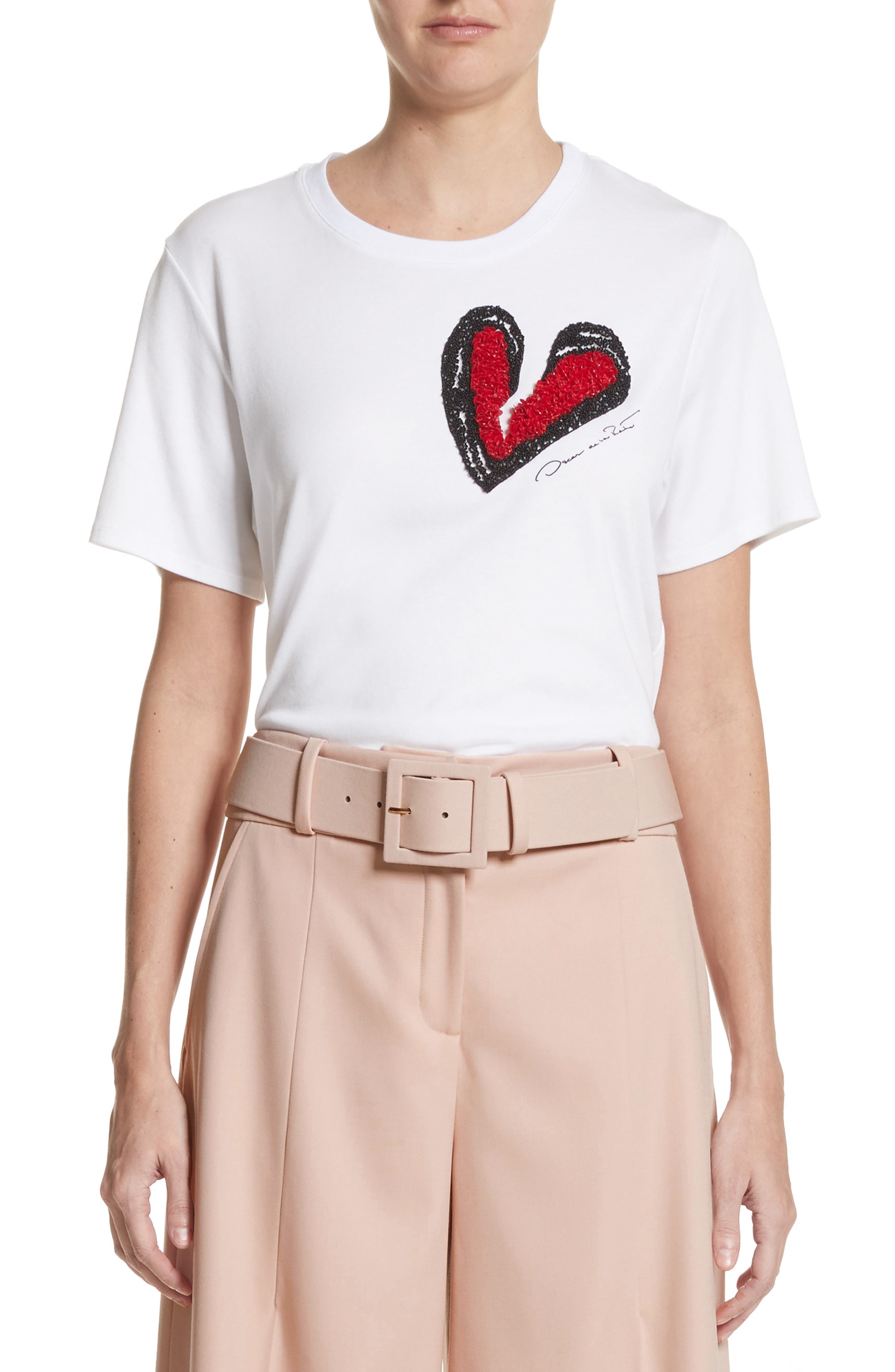 Heartbreaker Embellished Tee,                             Main thumbnail 1, color,                             White W/ Red