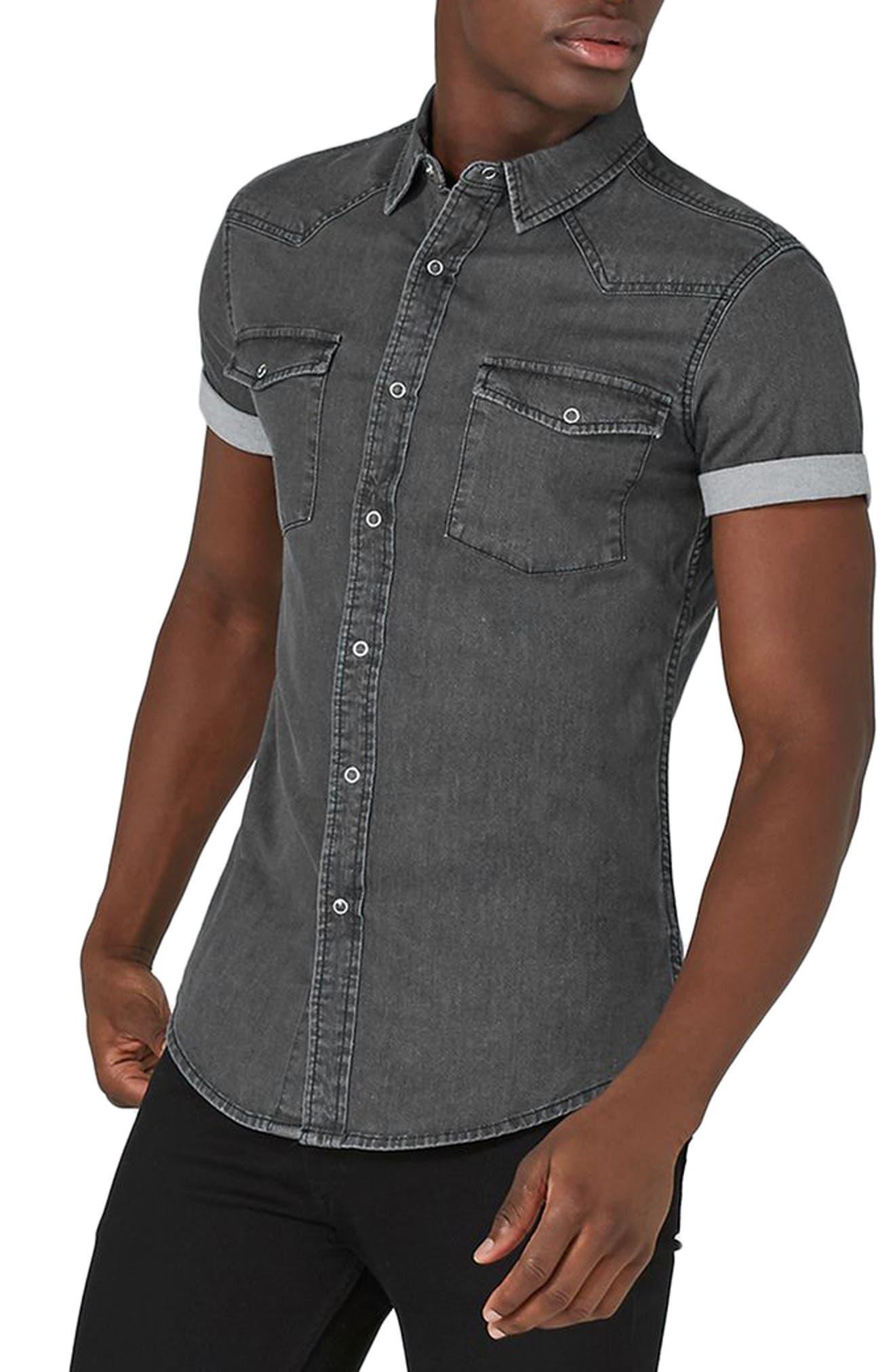 Muscle Fit Denim Shirt,                         Main,                         color, Black
