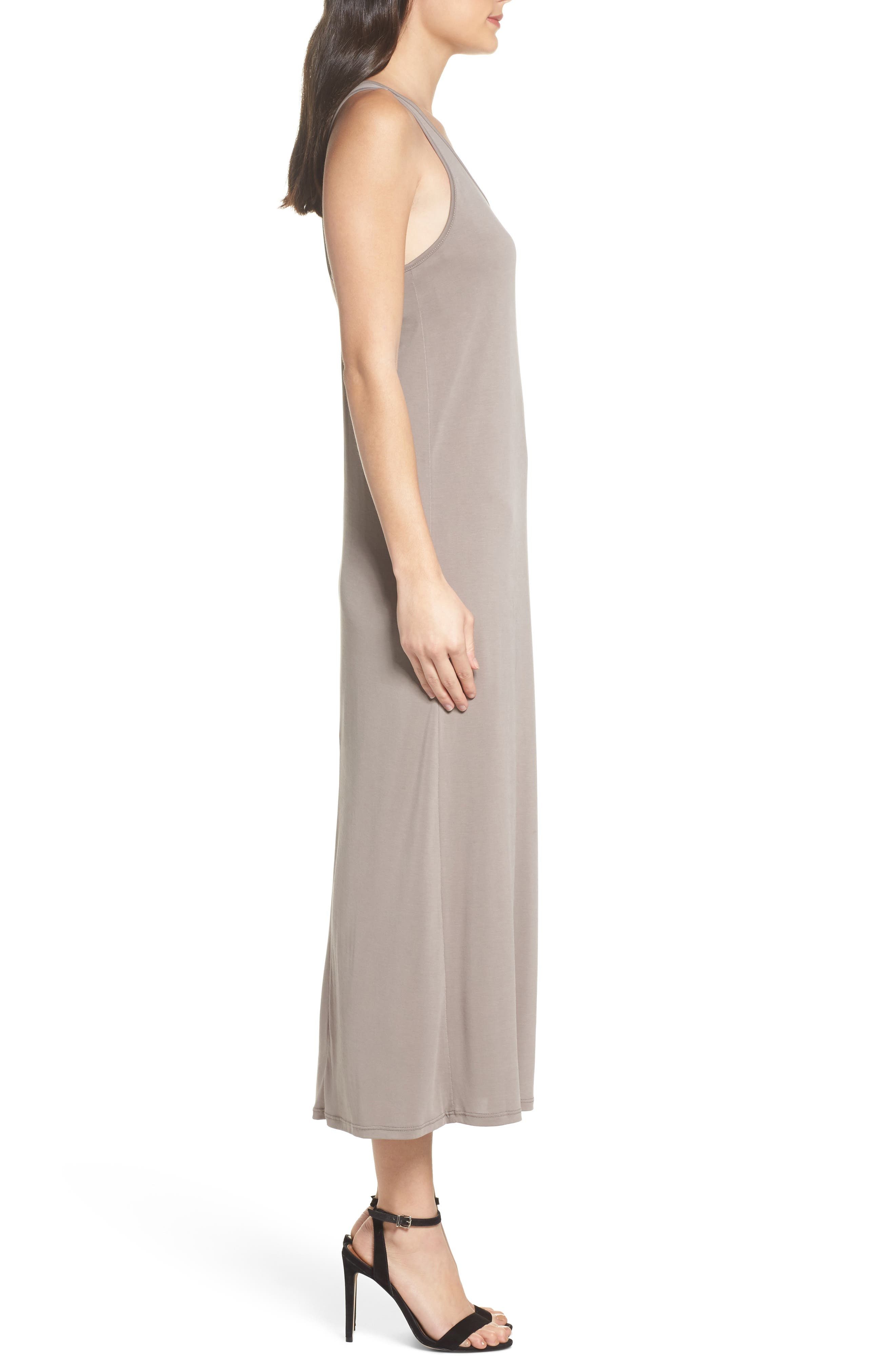 Knot Back Maxi Dress,                             Alternate thumbnail 3, color,                             Mocha