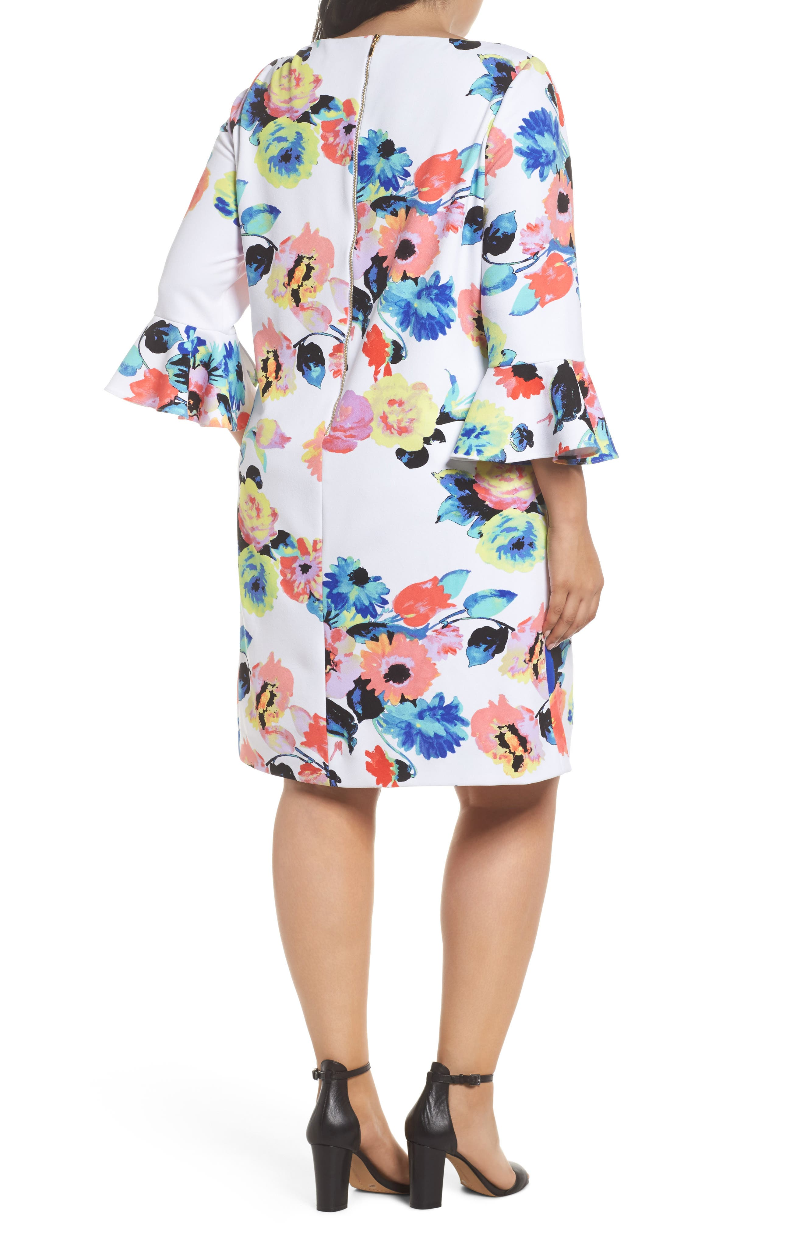 Alternate Image 2  - Tahari Floral Print Shift Dress (Plus Size)