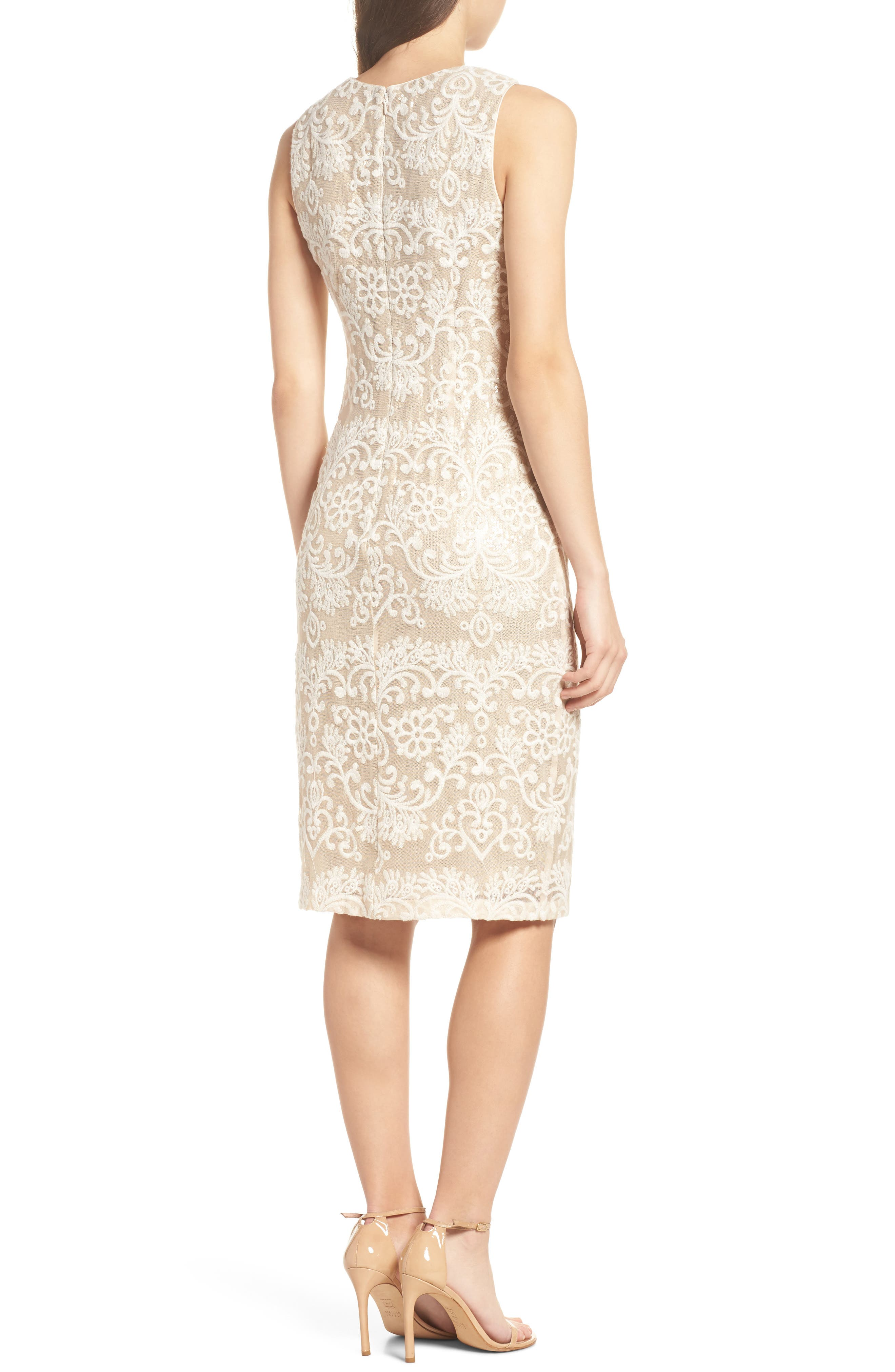 Embroidered Sequin Mesh Sheath Dress,                             Alternate thumbnail 2, color,                             Ivory/ Gold