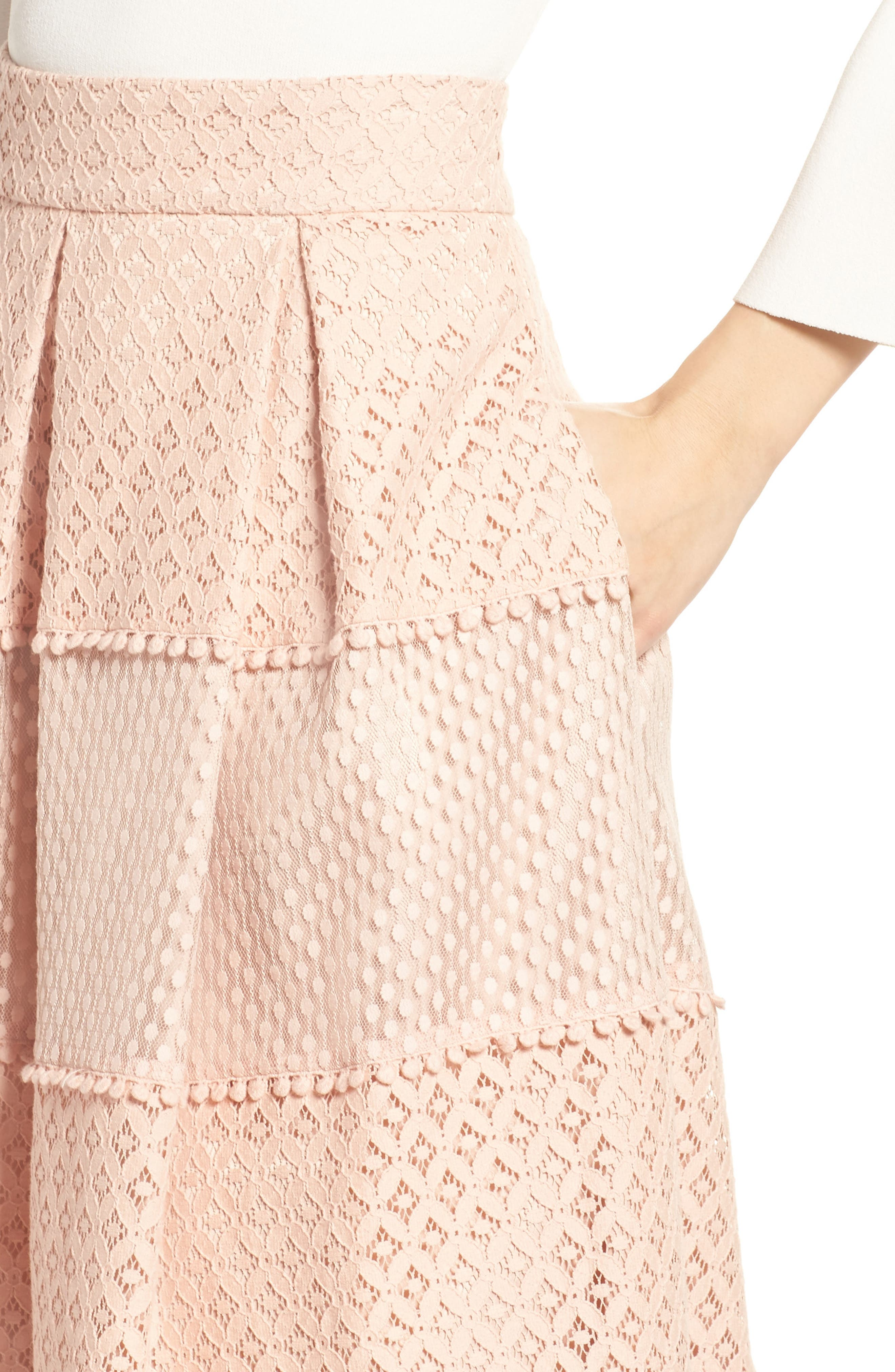 Banded Lace Midi Skirt,                             Alternate thumbnail 4, color,                             Blush