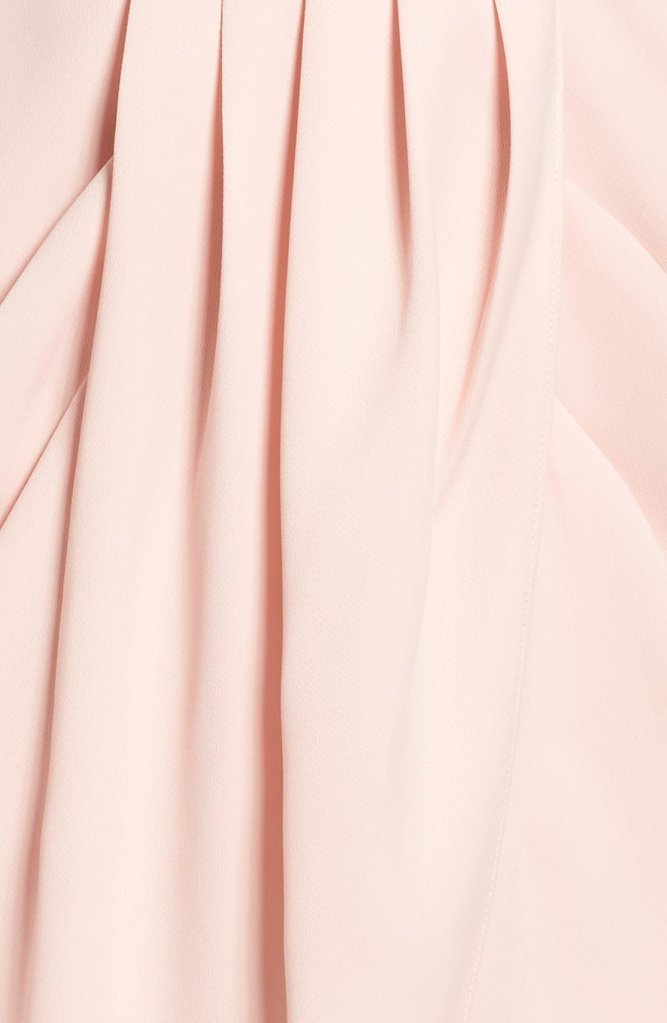 Print Faux Wrap Dress,                             Alternate thumbnail 5, color,                             Pink Peach