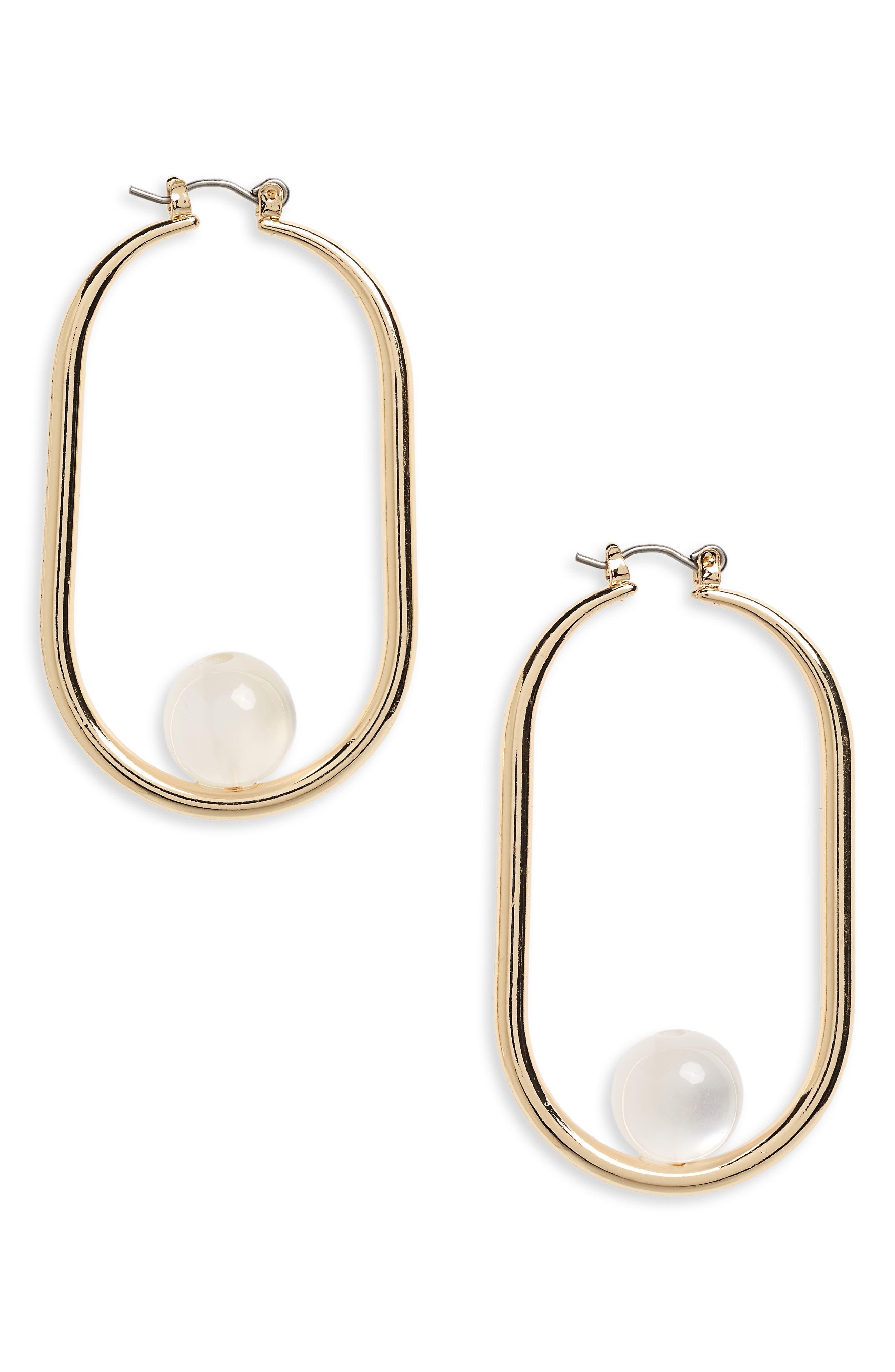 Marble Bead Hoop Earrings,                         Main,                         color, Gold/ Cream