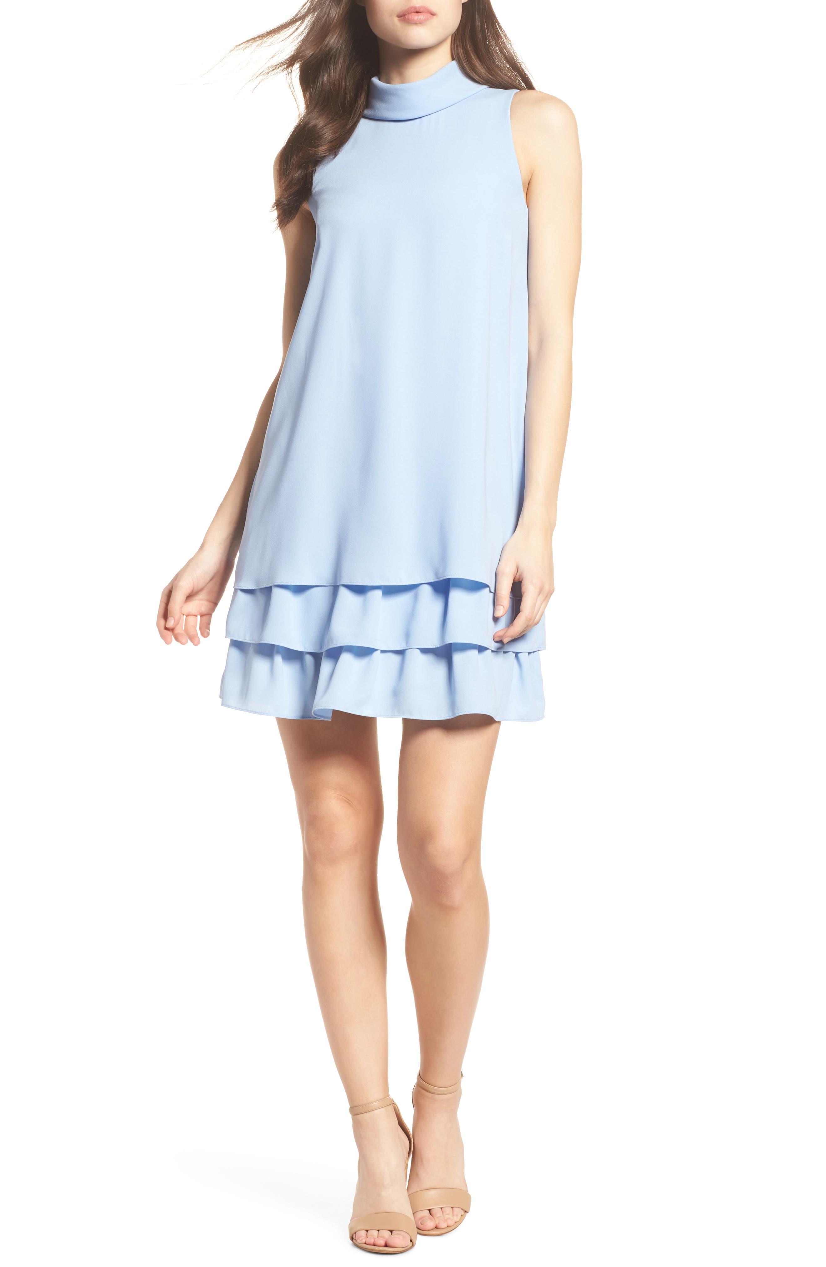 Moss Crepe Roll Neck Ruffle Dress,                             Main thumbnail 1, color,                             Light Blue