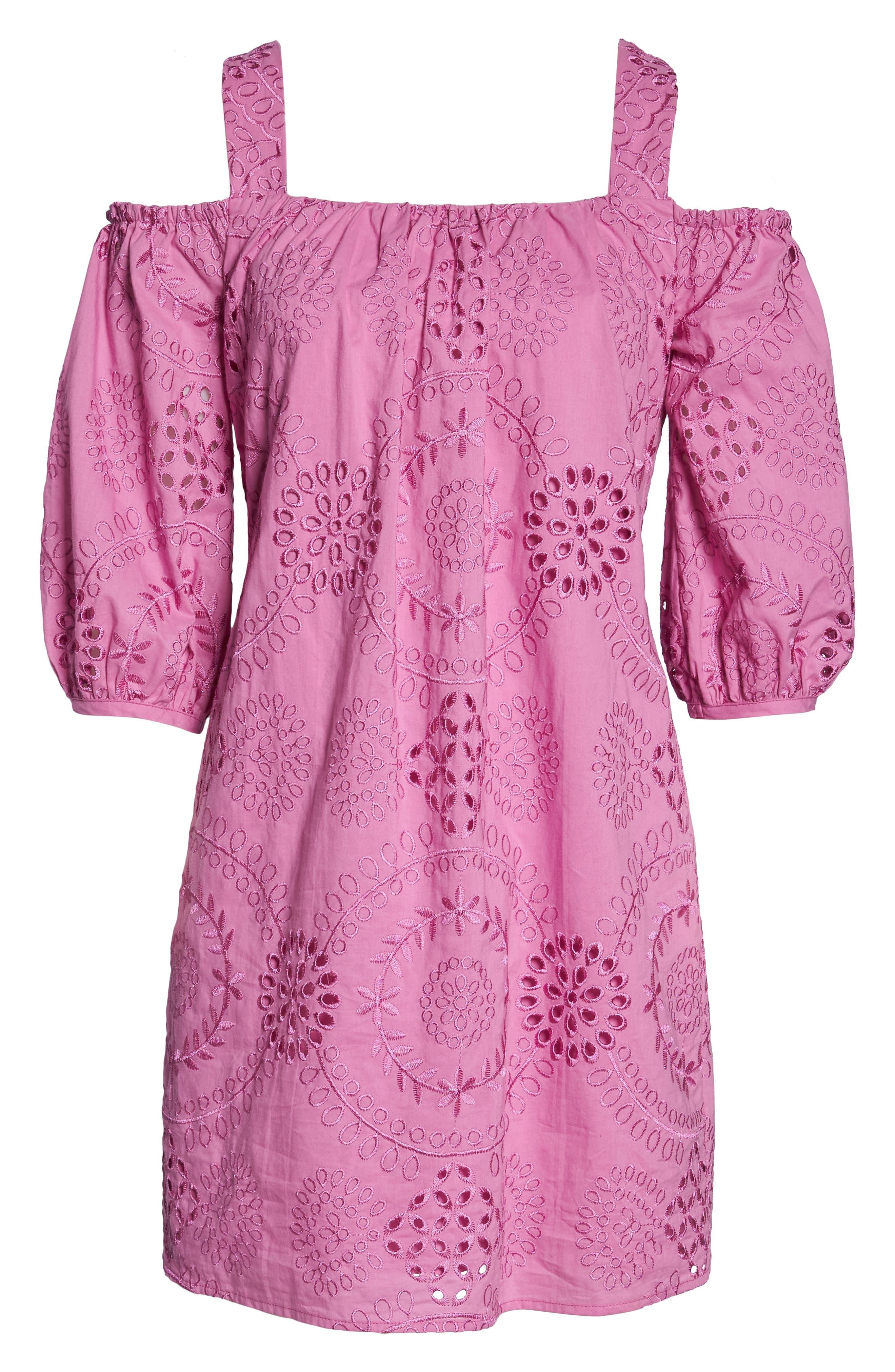 Tonnie Cold Shoulder Eyelet Dress,                             Alternate thumbnail 6, color,                             Bougainvillea