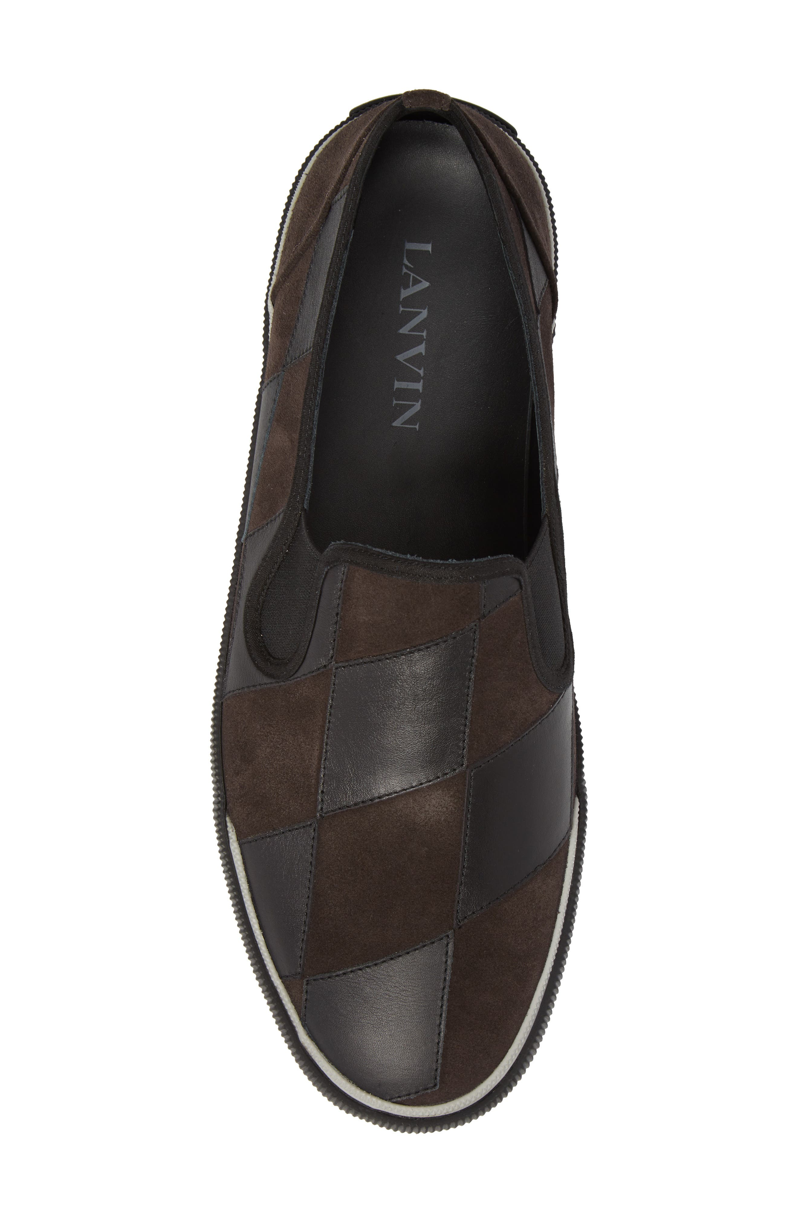 Diamond Patchwork Slip-On Sneaker,                             Alternate thumbnail 5, color,                             Taupe/ Black Leather/ Suede